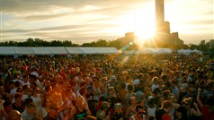 Spectacular view and amazing crowd at T-Dance 2011. Bimbo Jones plays to the setting sun.
