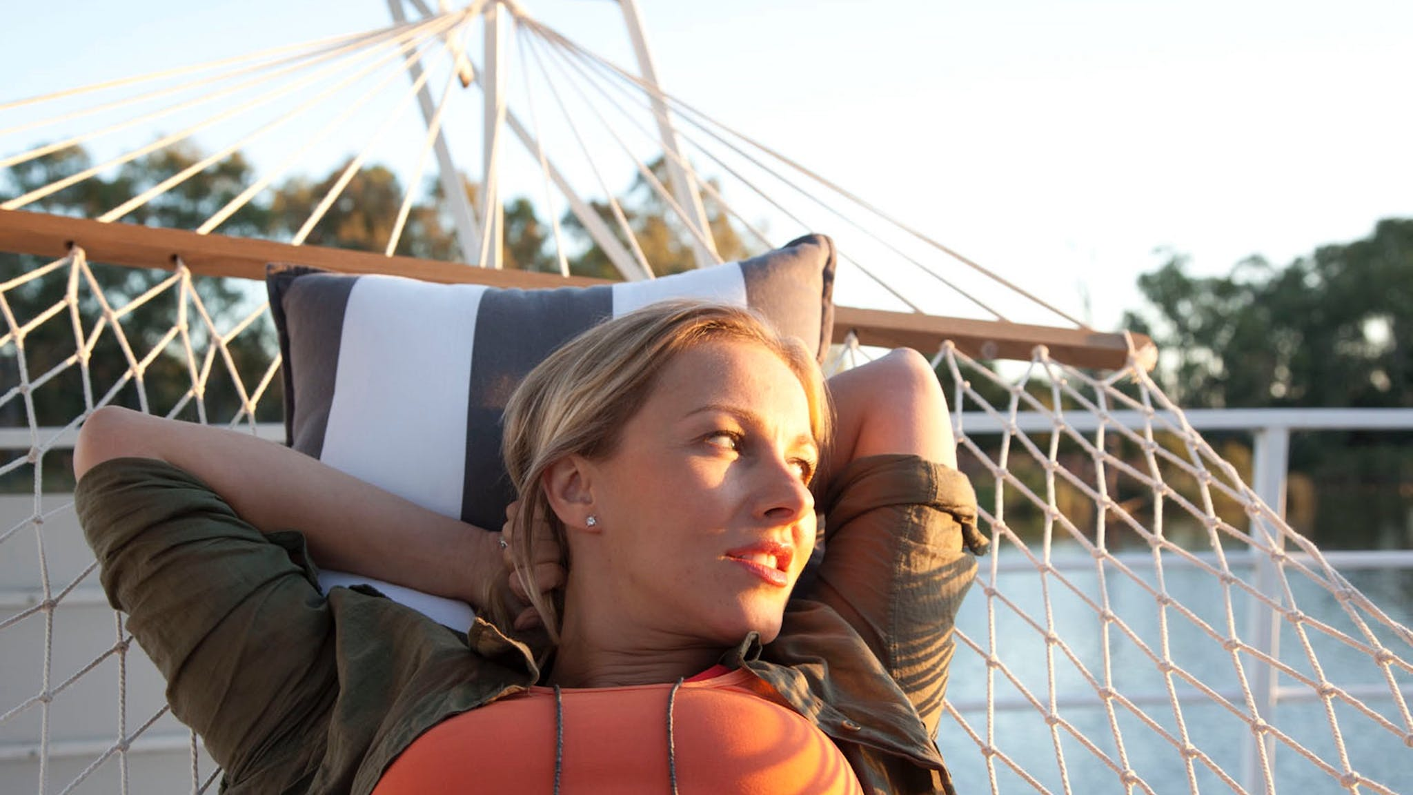 Spend your days relaxing top deck in a hammock