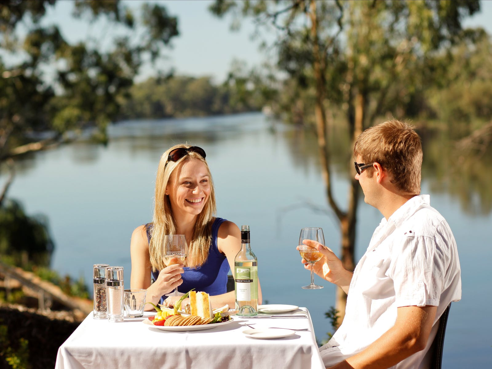 Dining on the riverbank