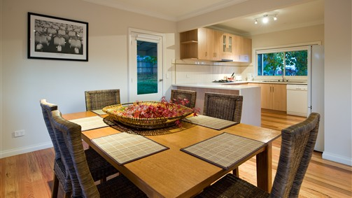 Full kitchen with open plan dining