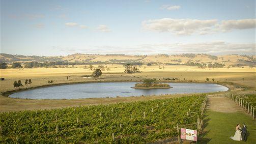 Vineyard and Lake at Grange Cleveland Winery