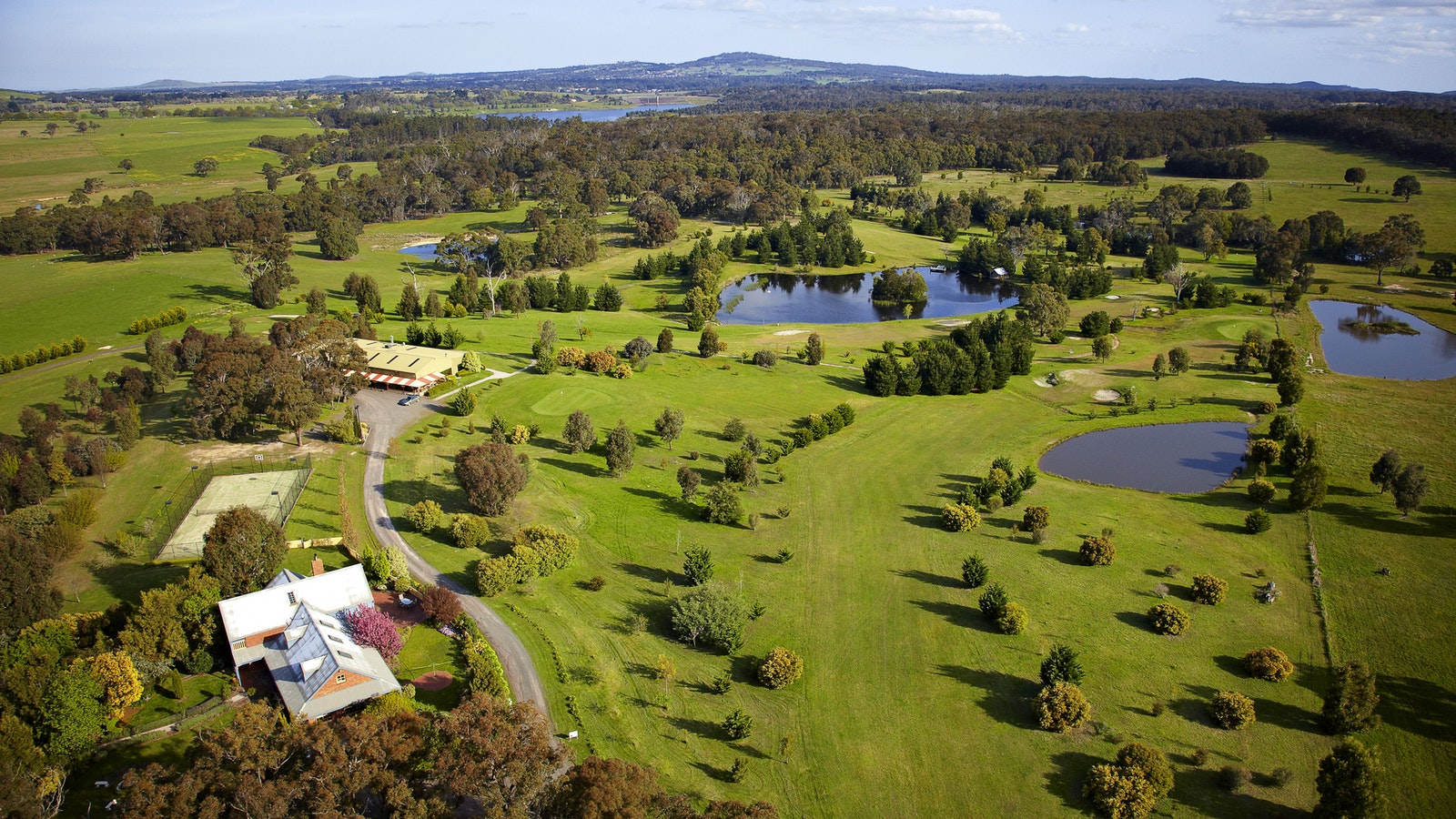 Aerial view across the 53 acre property