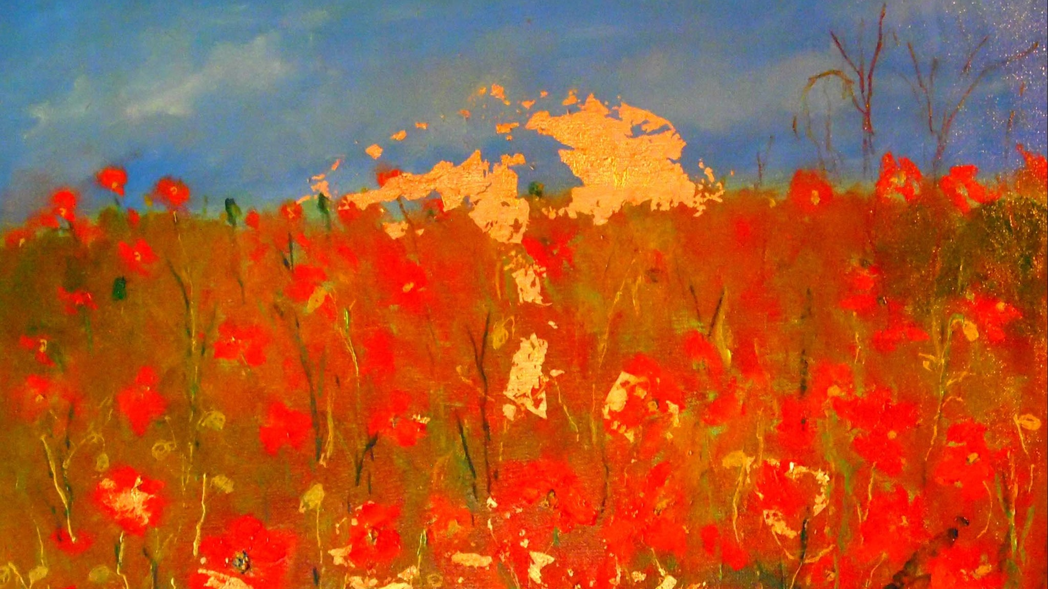 The sun sets on the Field of Poppies - oil paint, gutta and gold foil