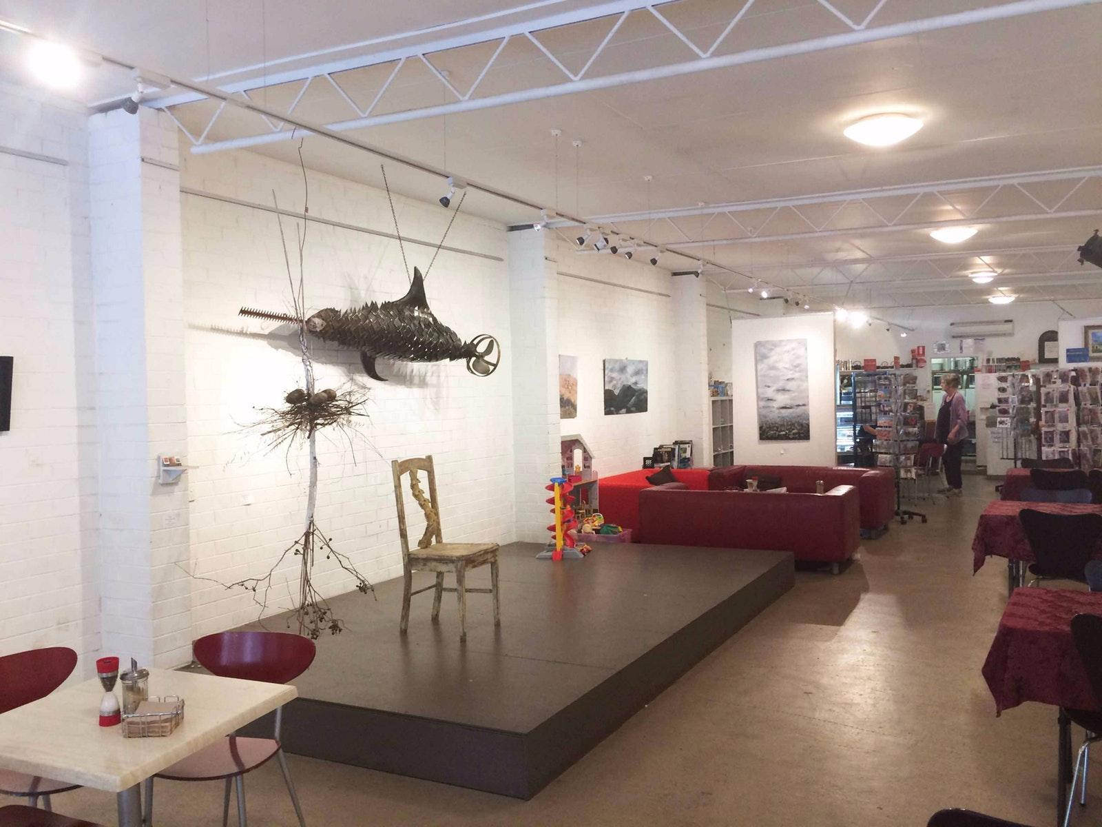 Metal sculpture inside gallery
