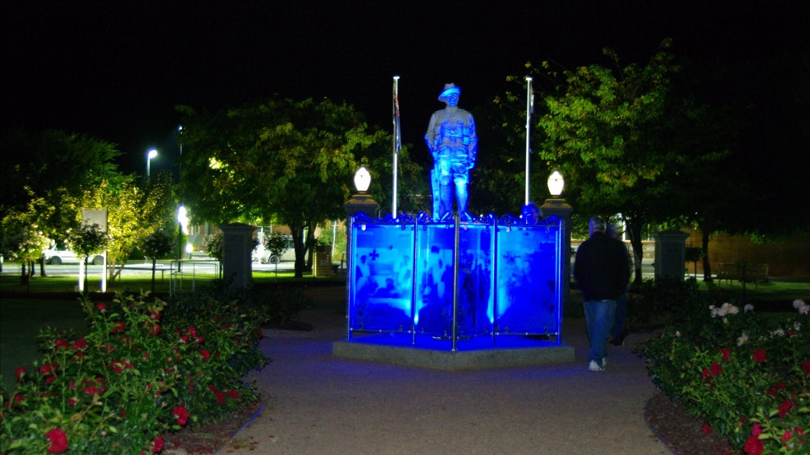 WW1 Memorial Park at night