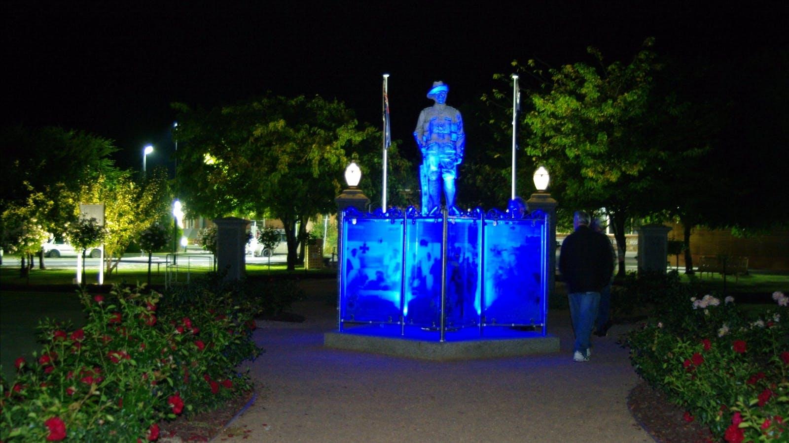 WW1 Memorial Park at night