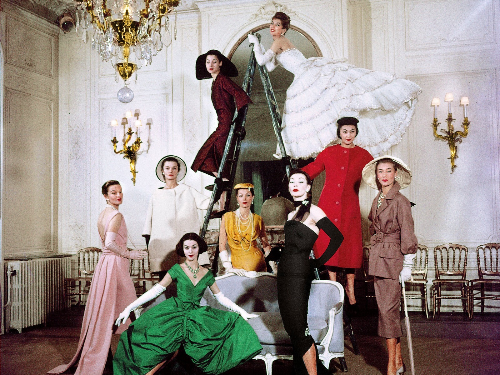 Christian Dior models in the salon of House of Dior's headquarters