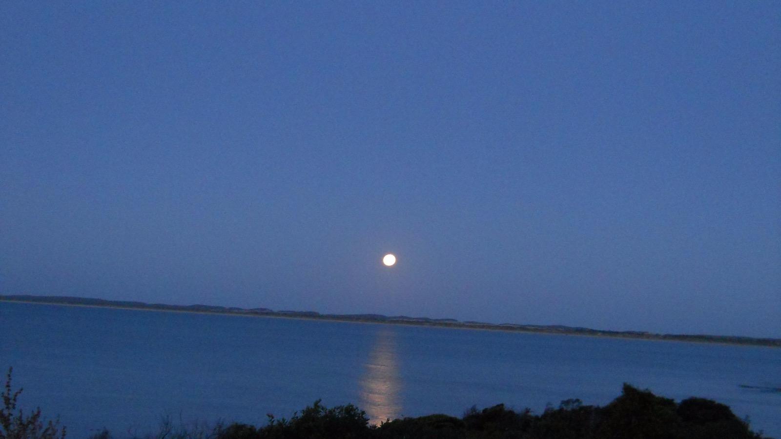 Autumn Moonlight across Beach