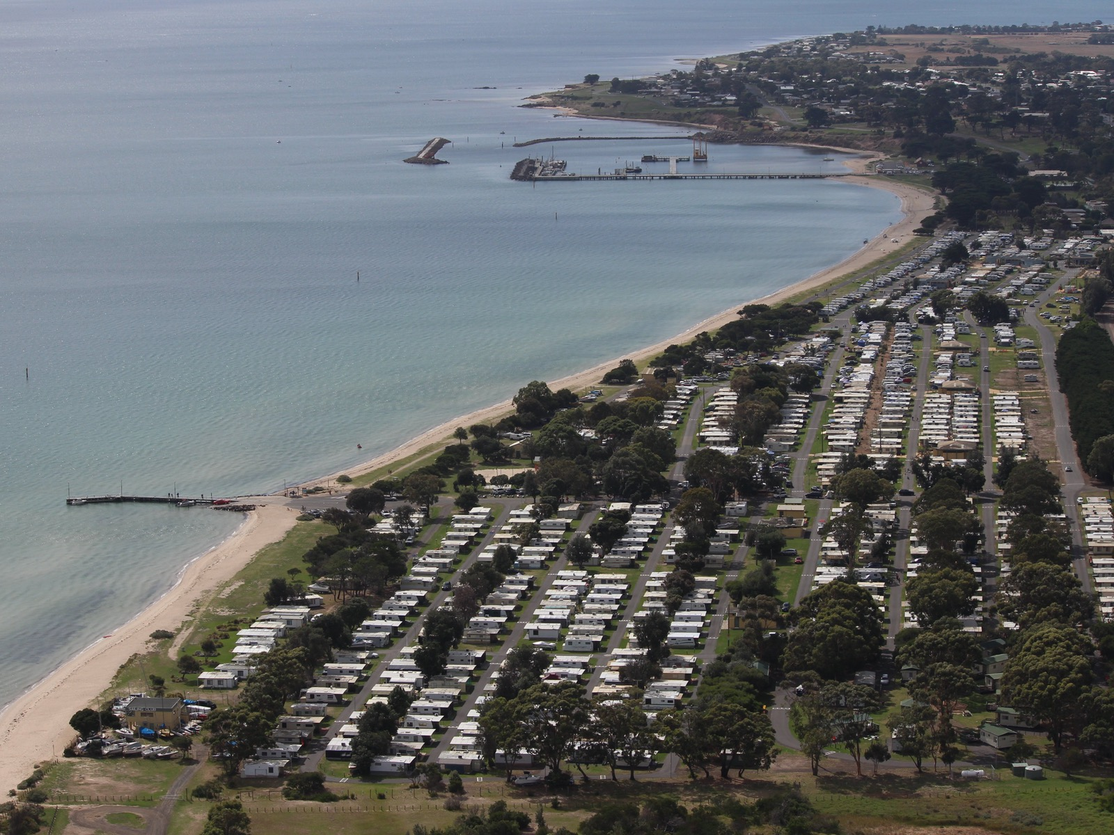 Aerial photo of Portarlington Holiday Park