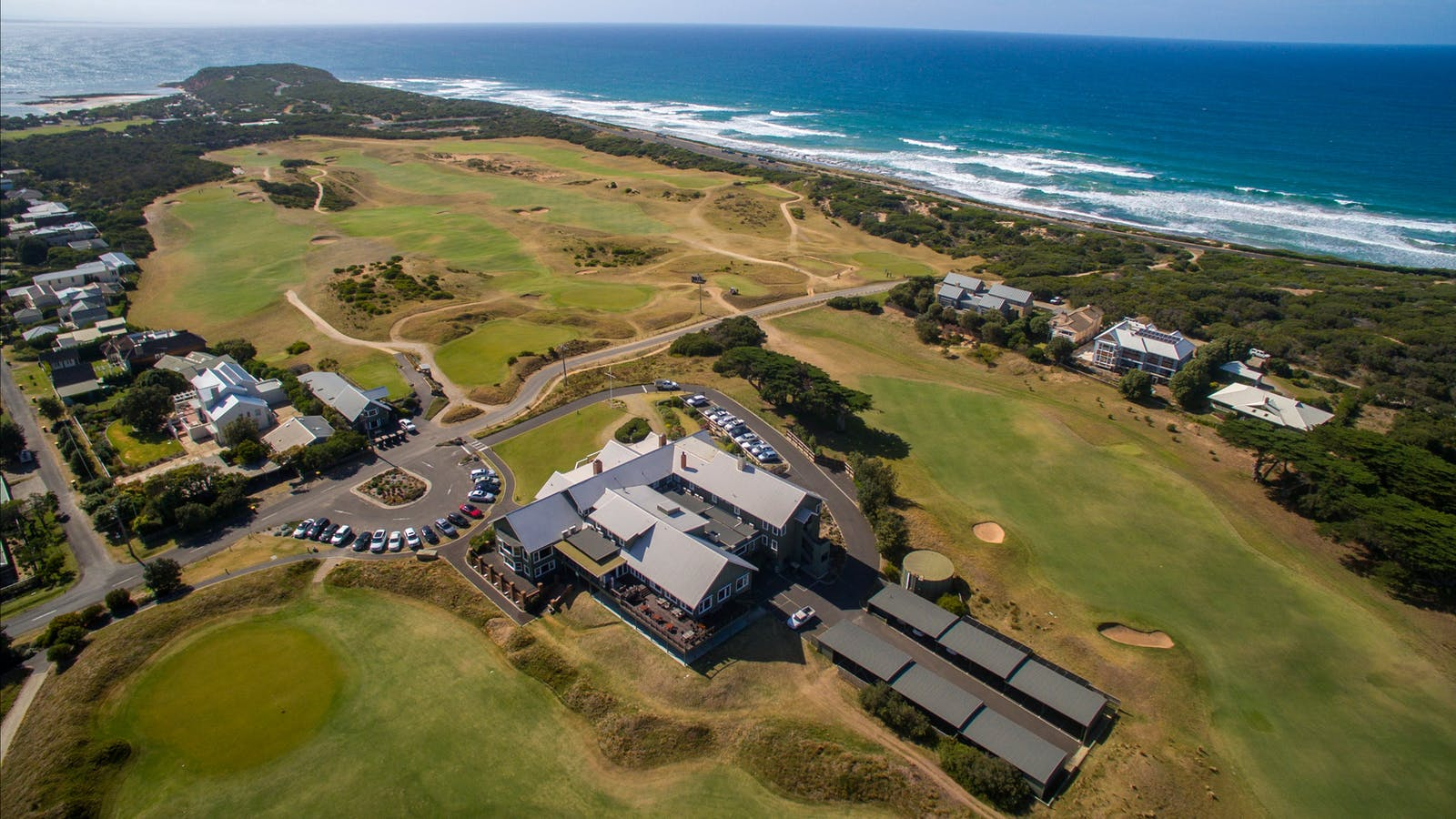 Aerial view of the course, Clubhouse and Barwon Heads