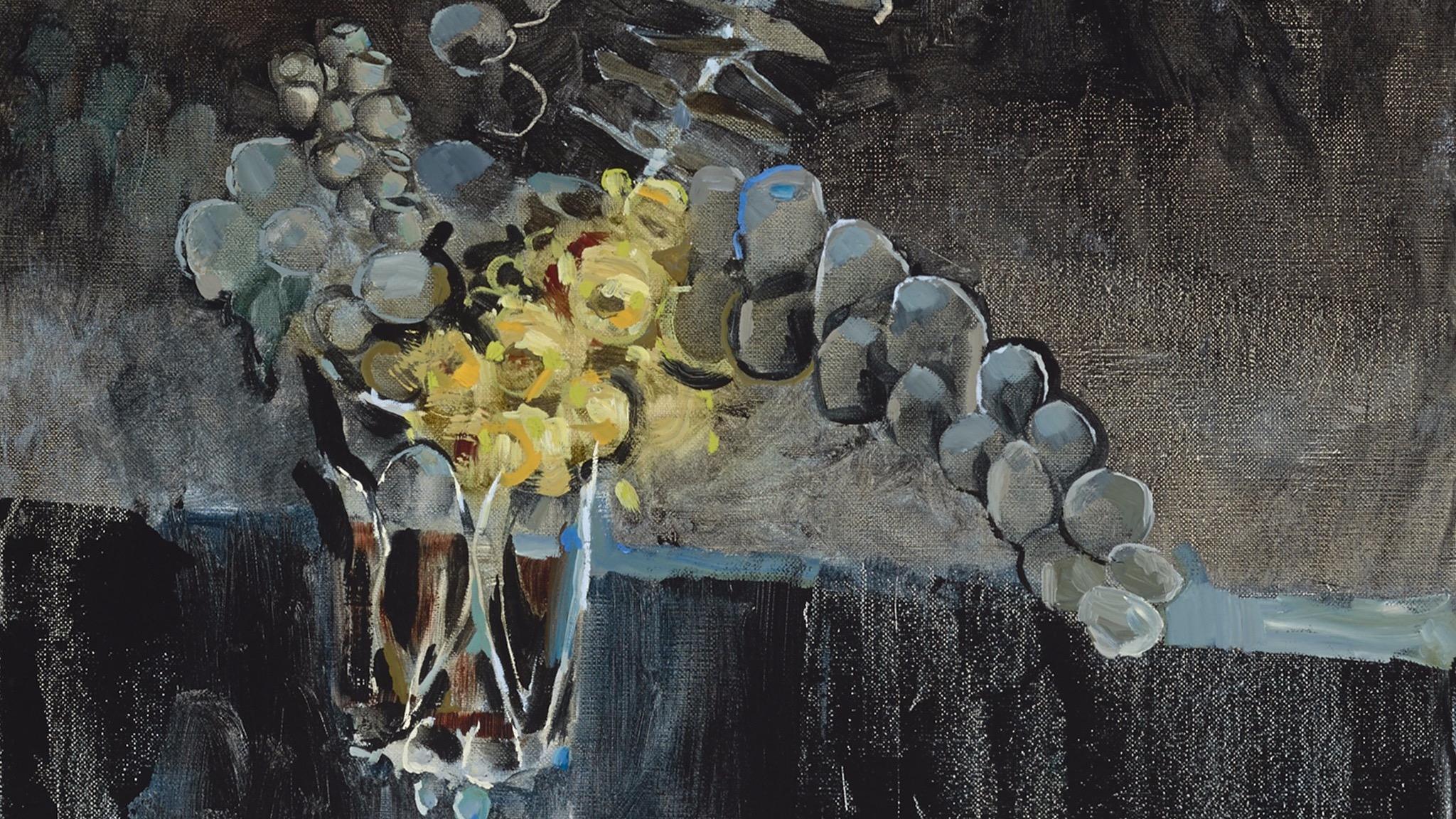 Adam Pyett 'Flowering gum' (detail)  2013,  oil on linen,  Private collection.
