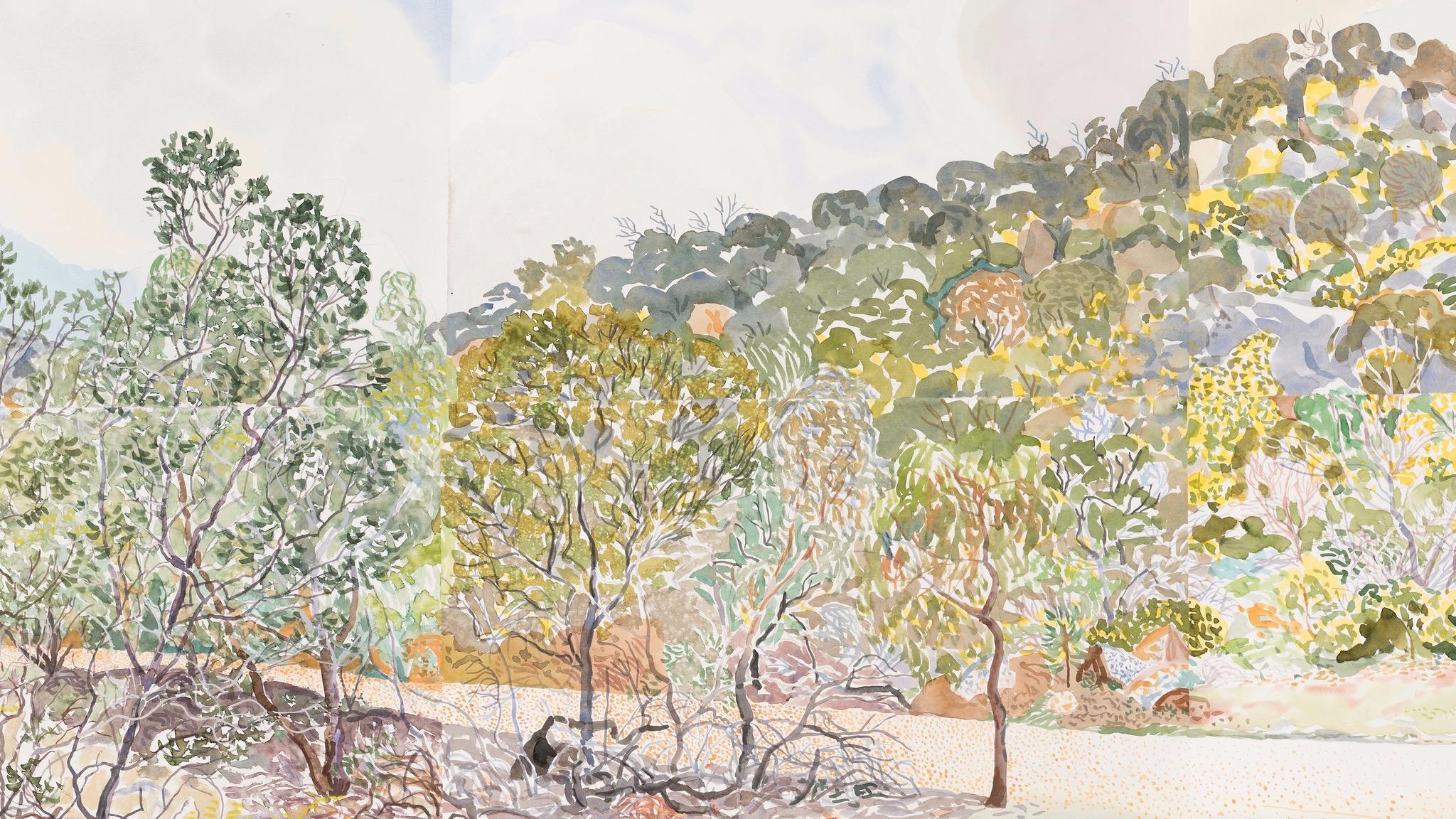Mark Dober 'You Yangs watercolour 36'  2016