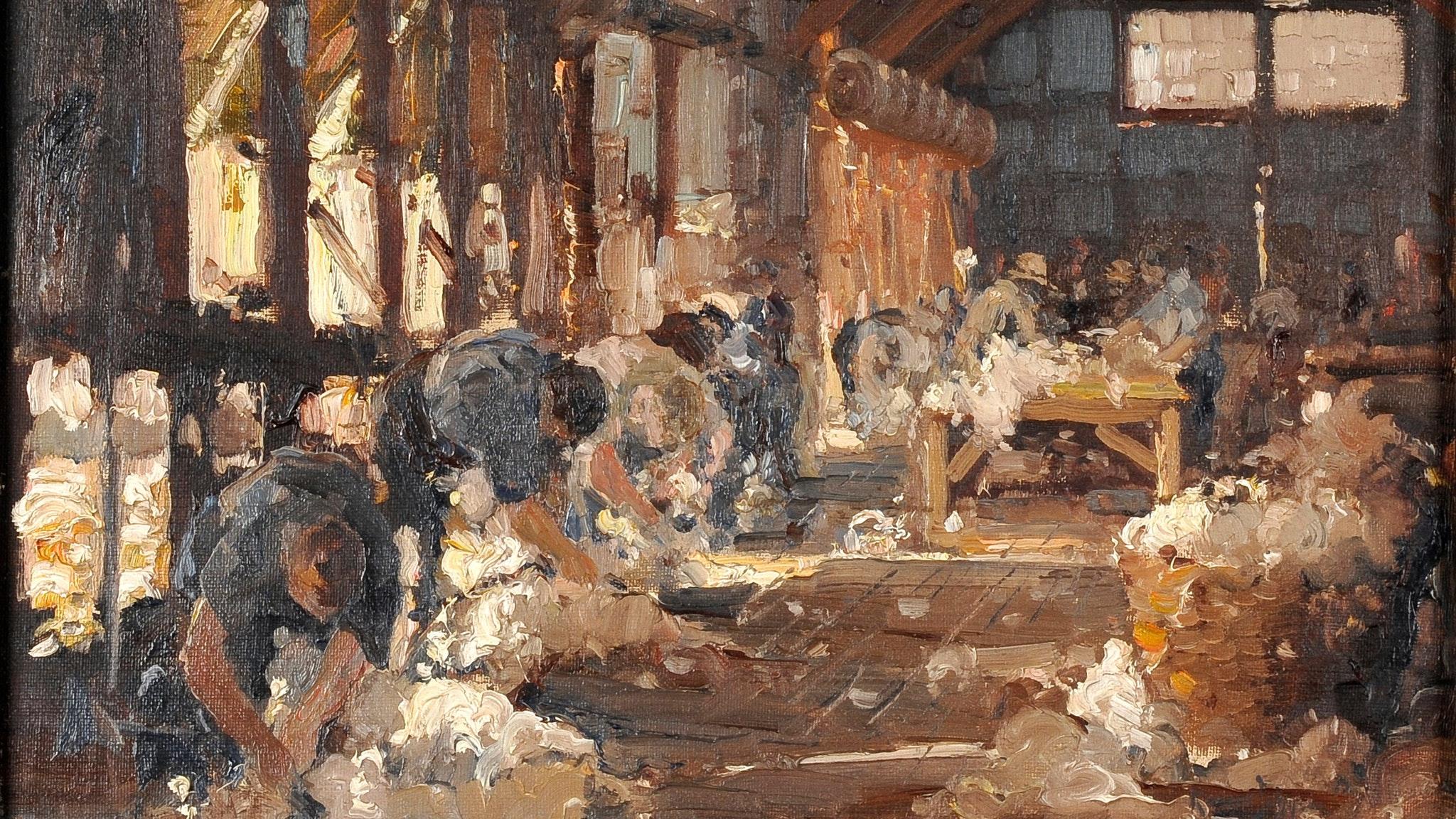 Robert Johnson (1890-1964) The shearing shed, c.1933