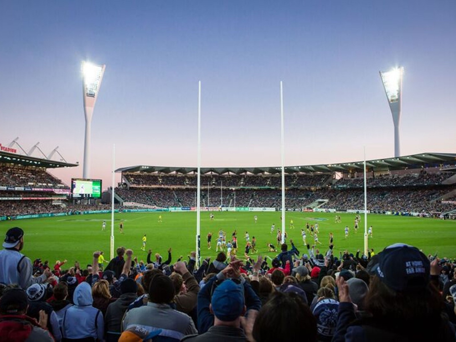 Simonds Stadium under lights