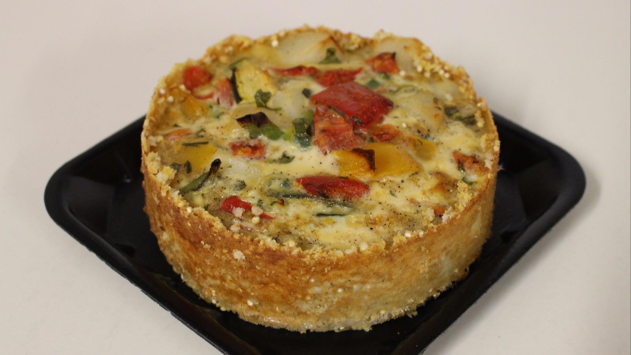 Individual Gluten Free Tart with Polenta & Quinoa Crust.