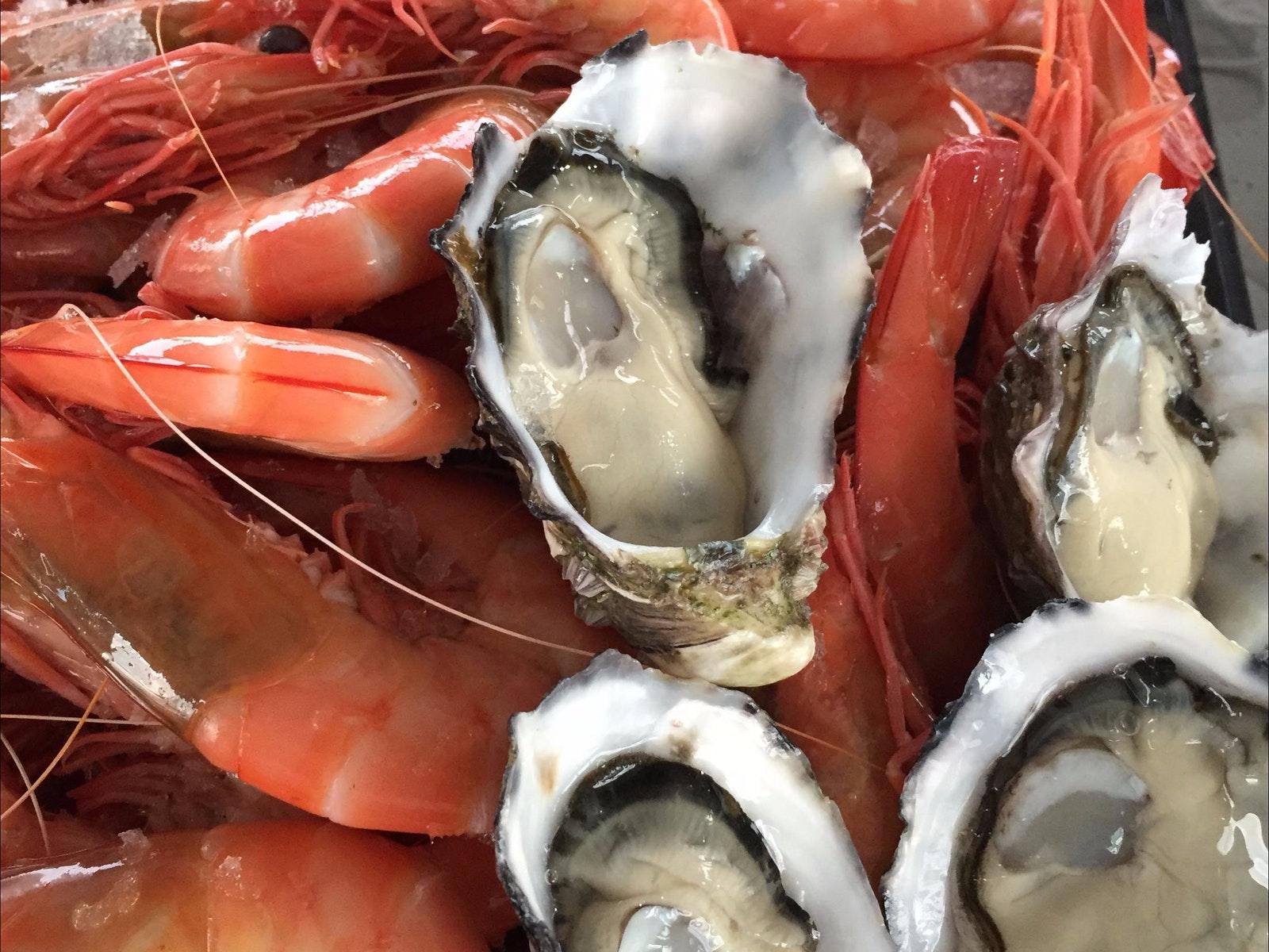 Beautiful fresh prawns and mussels