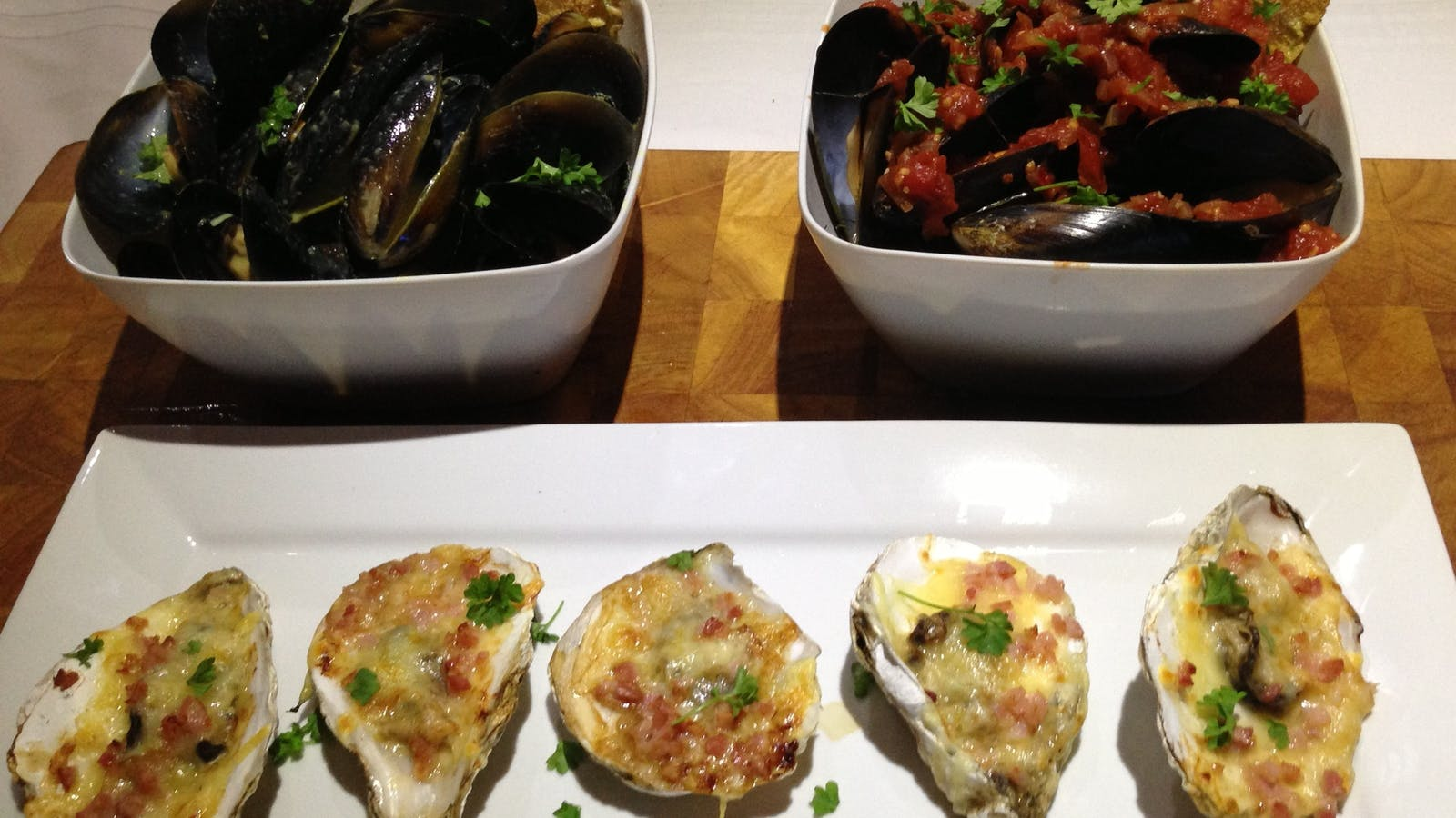 A feast of Mussels and Angasi Oysters