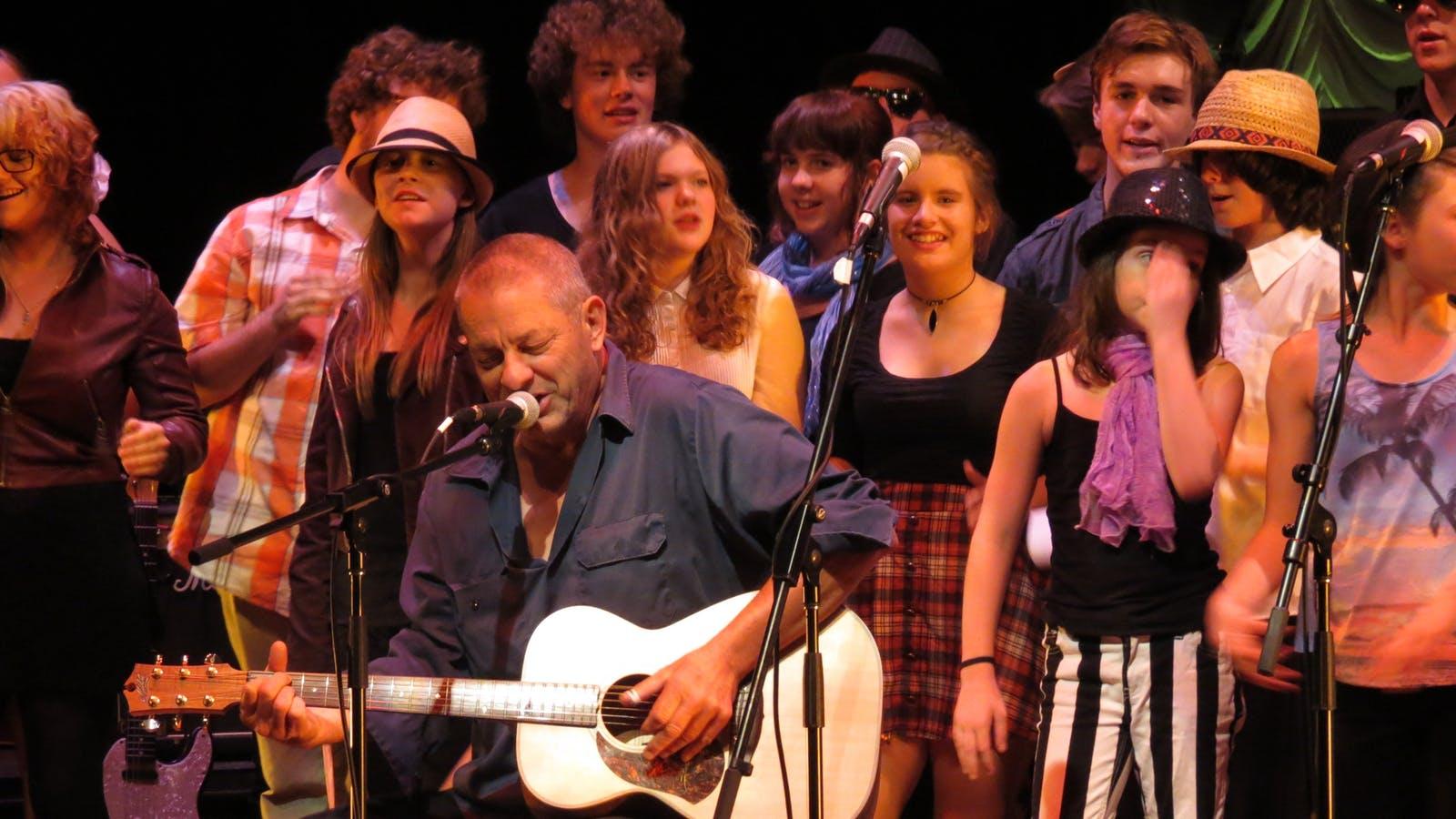 Local Bellarine musician Chris Wilson performing with community