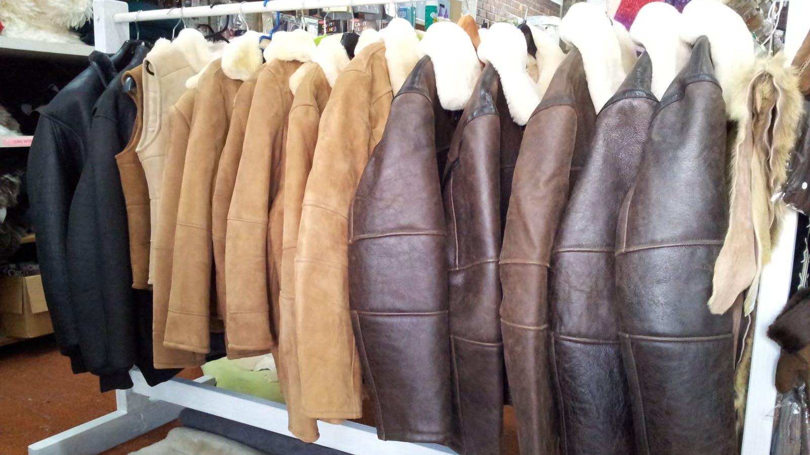 Sheepskin Coats and Vests on rack