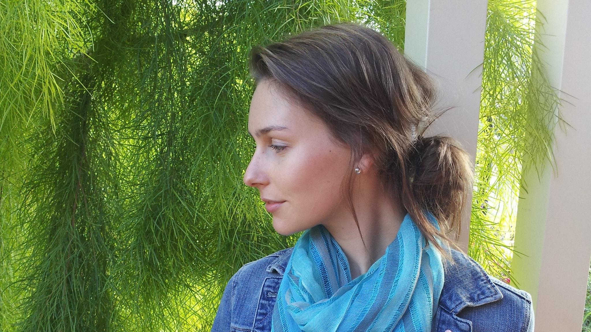Elizabeth is modelling a Beautiful Jewel Green Scarf