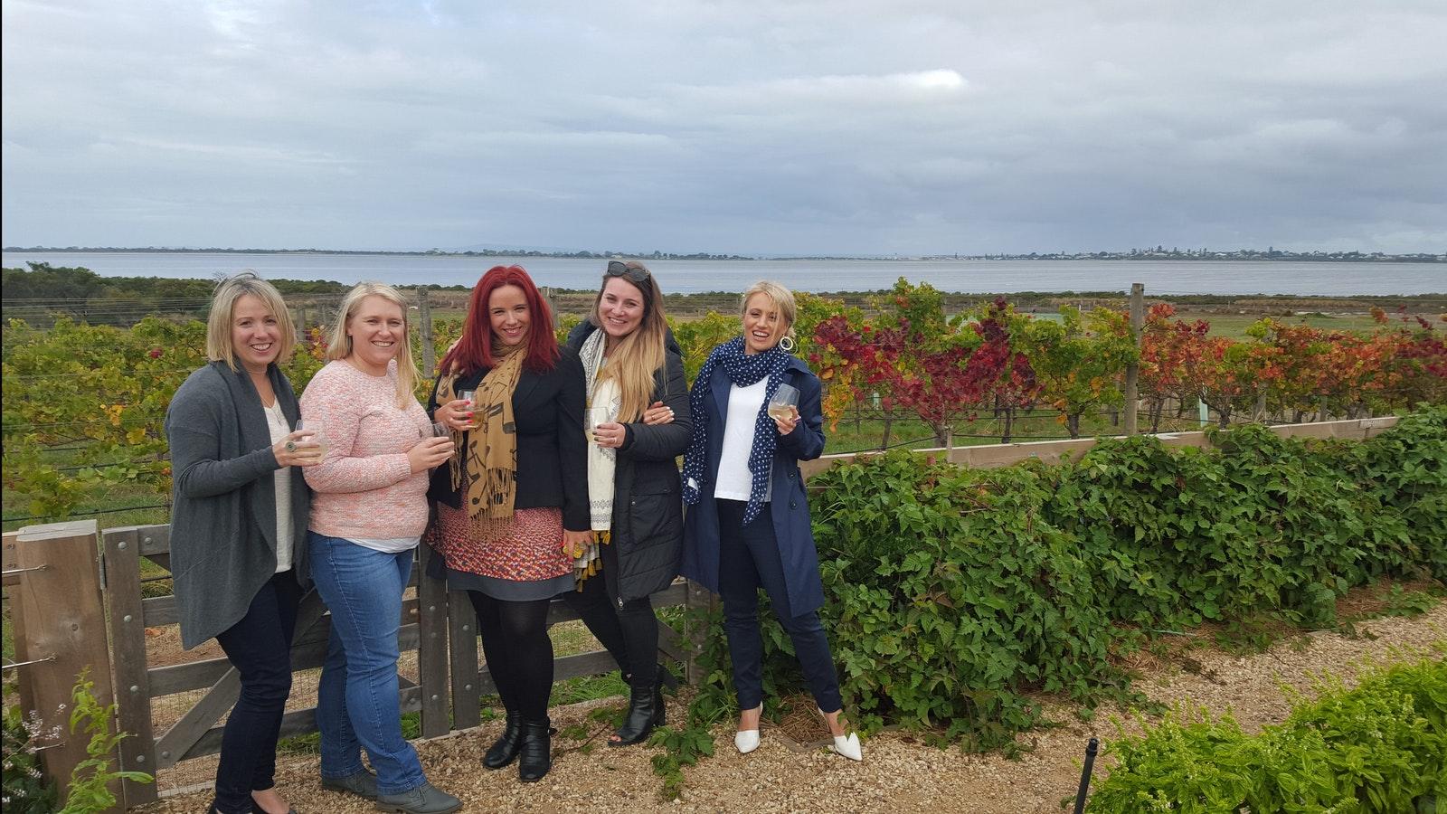 Girls enjoying a vino at Bails Farm