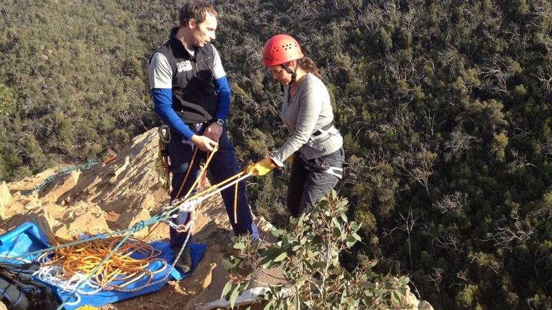 Eliza Abseiling at Anakie Gorge