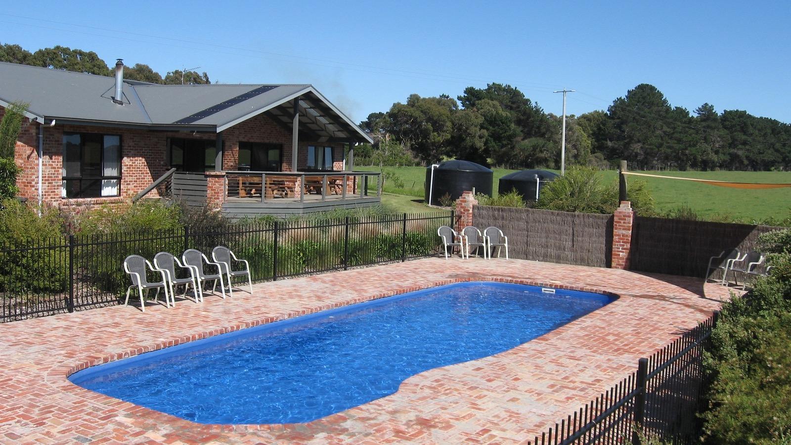 Group Lodge and pool at Prom Coast Holiday Lodge