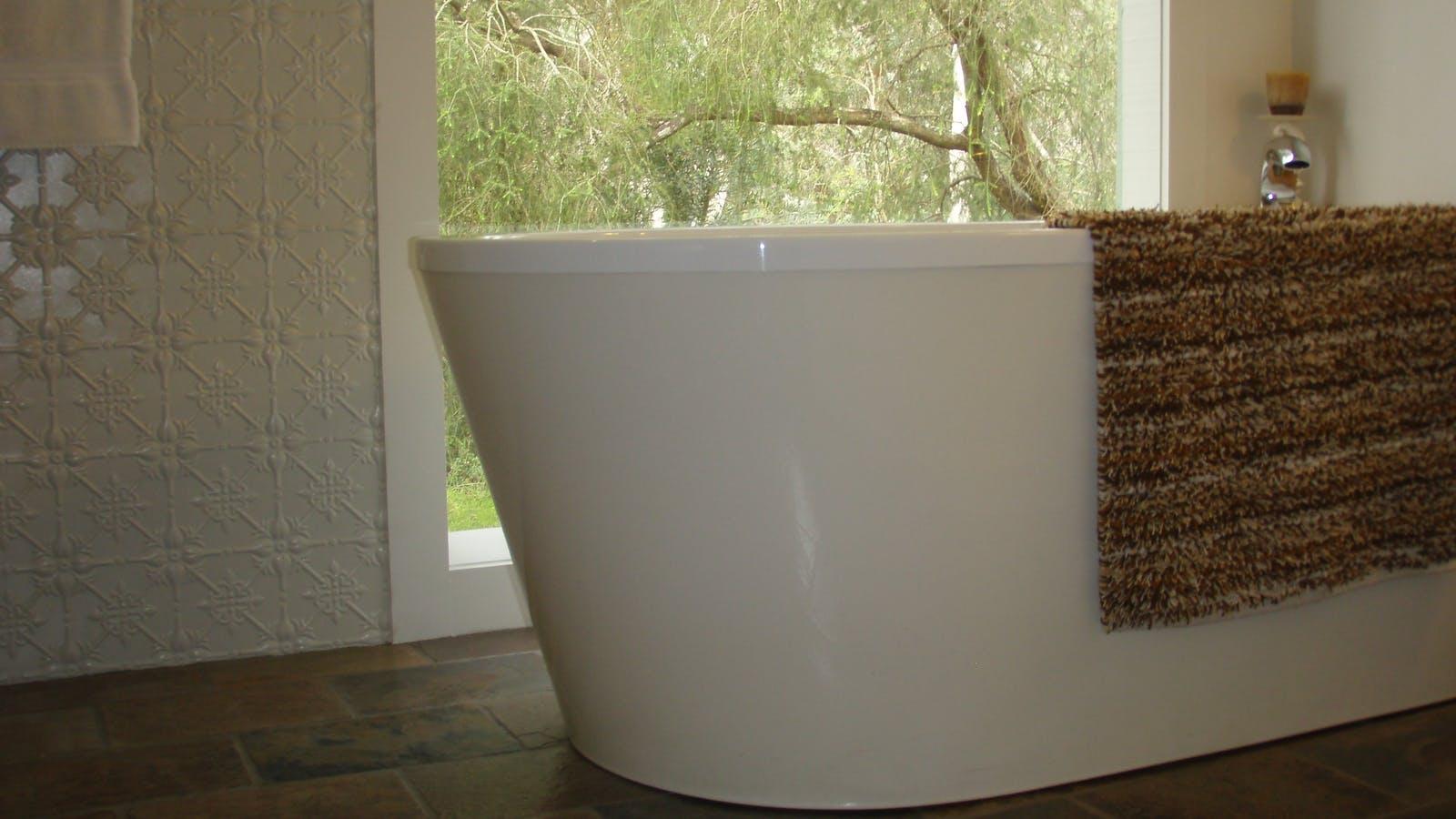 Solar heated rainwater bath