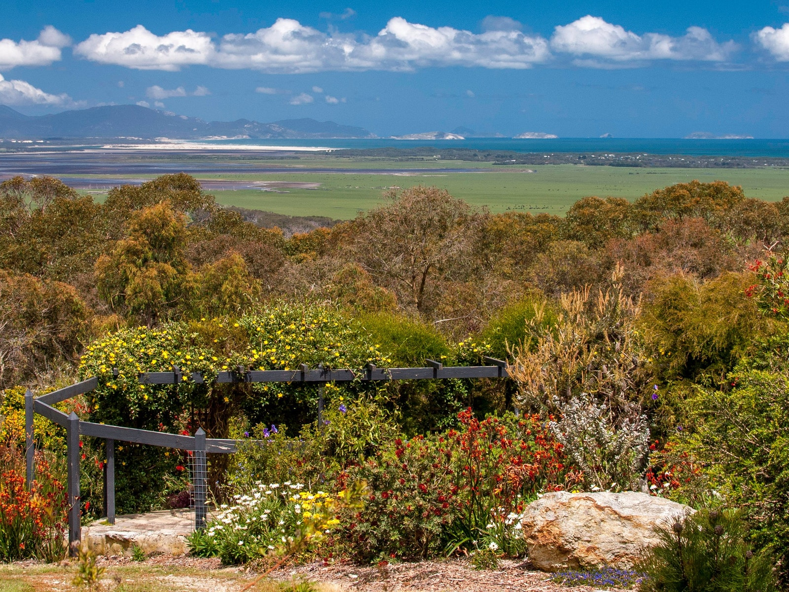 Stunning view over The Hill Station garden to Corner Inlet