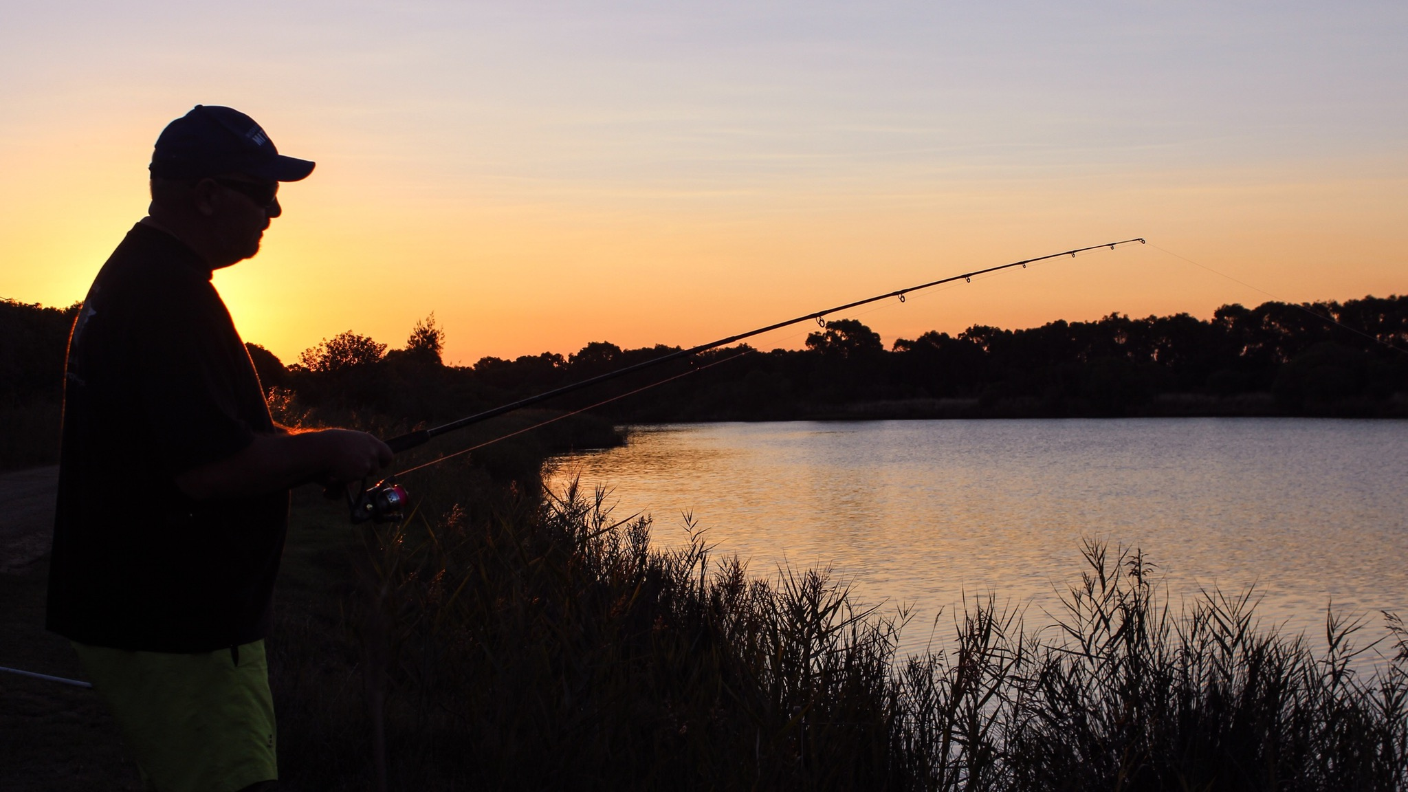 Fishing on the Silt Jetties at Eagle Point at Twilight