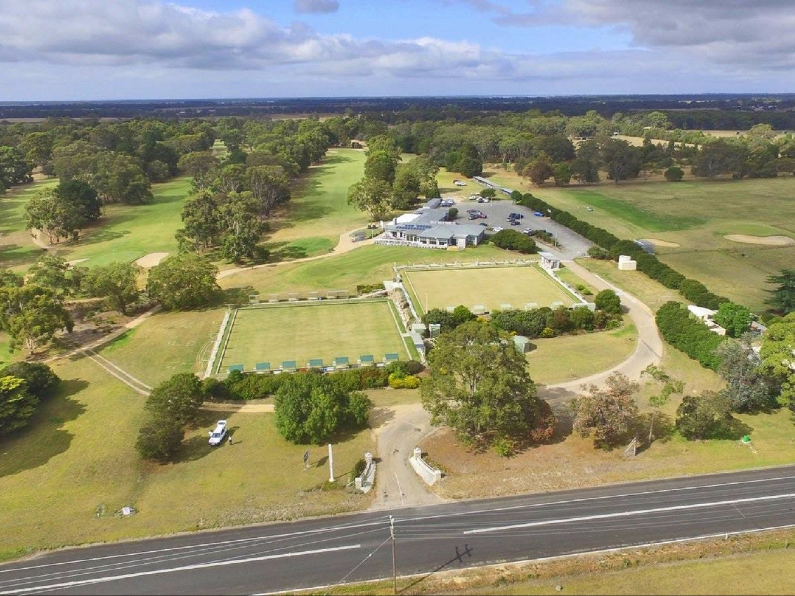 Bairnsdale Golf Club from above, showing the entire course, club house and entry