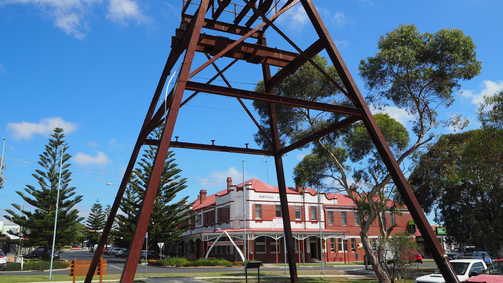 The Wonthaggi Railway Station is now a great museum with an old poppet head right outside.