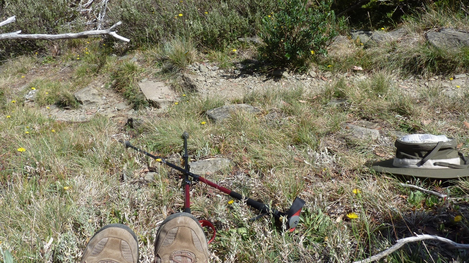Bushwalking in the Alpine National Park with boots, poles and hat.