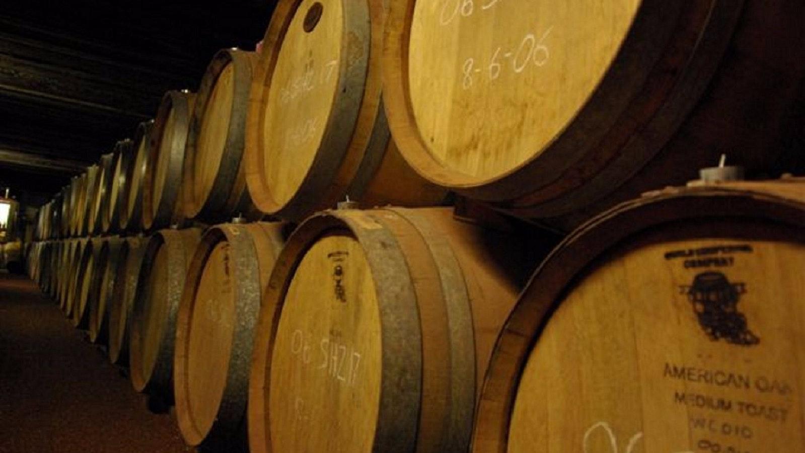 Rows of Wine Barrels