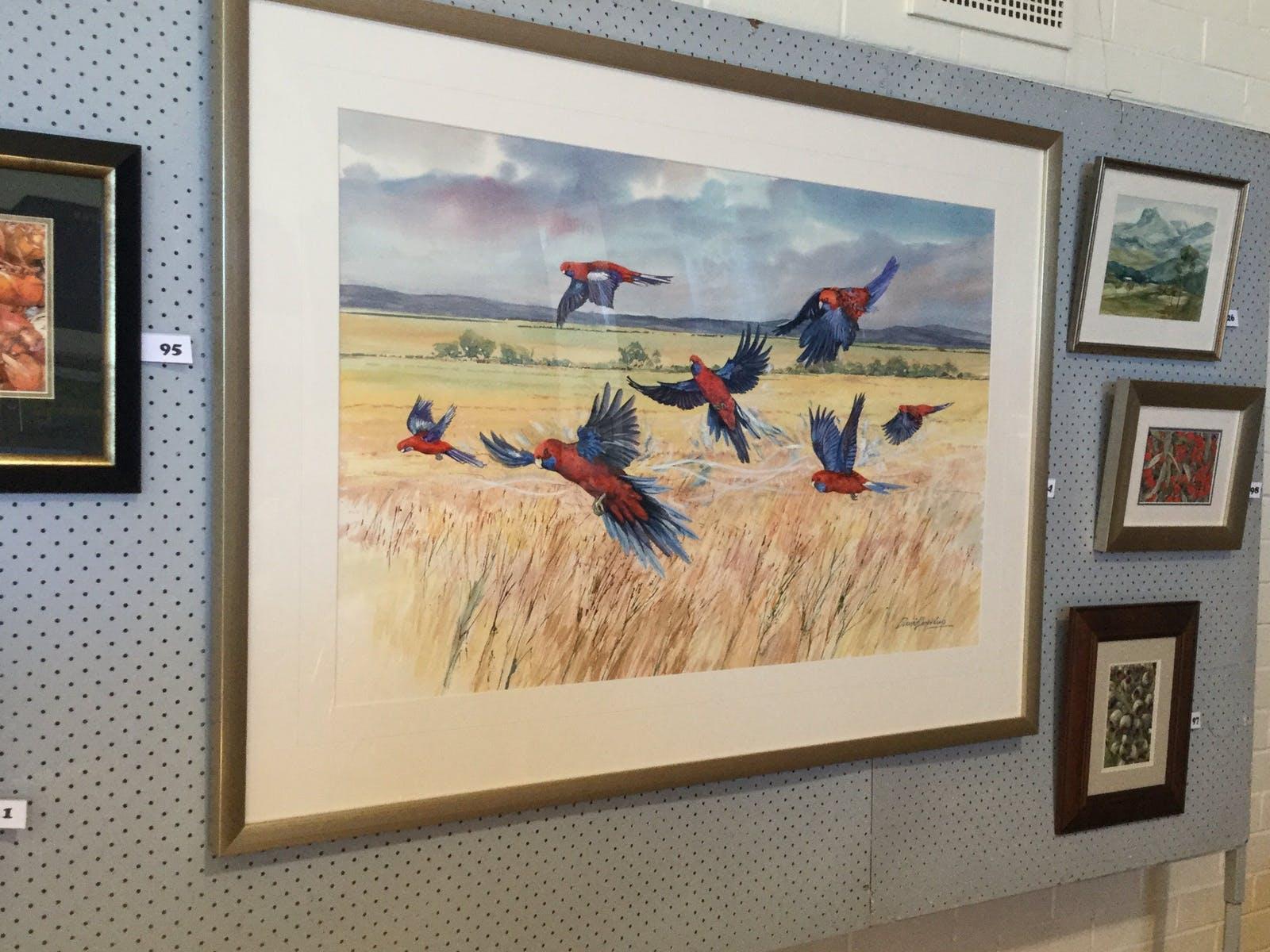 David Hopkins Watercolour of birds in flight around the Beaufort area.