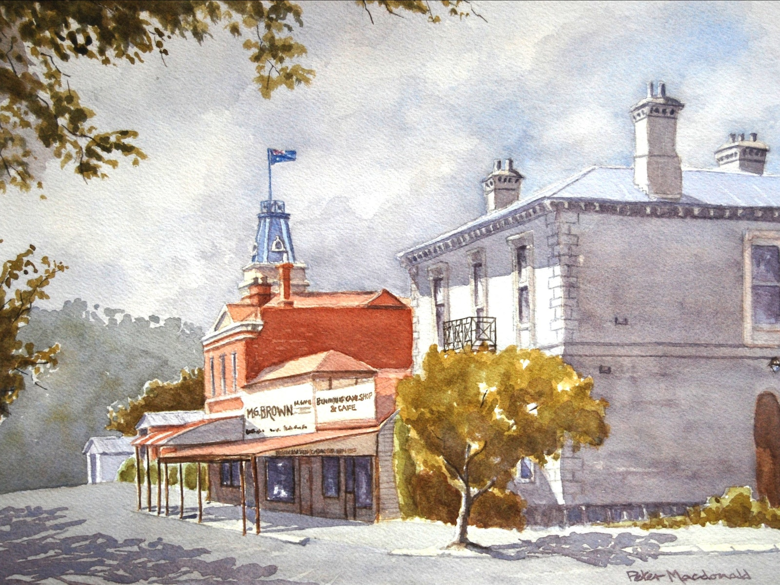 Buninyong Town painted in watercolour by well know Ballarat artists Peter MacDonald