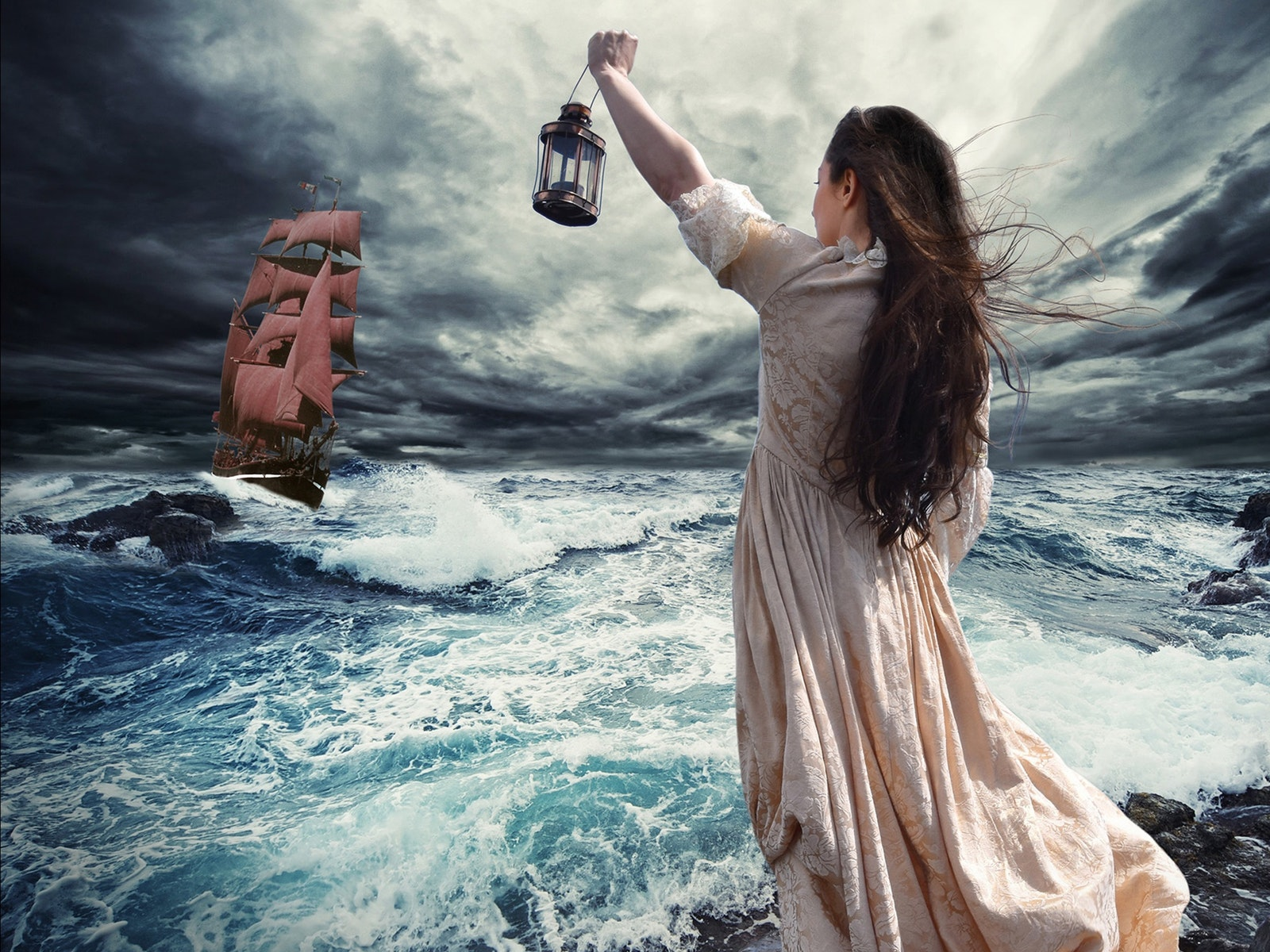 Miranda witnesses a ship foundering in the swirling tempest.