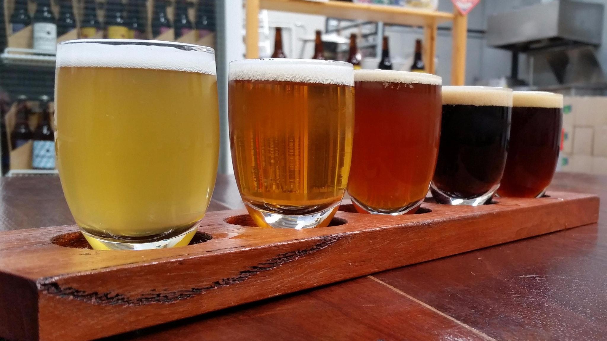 A five beer tasting paddle