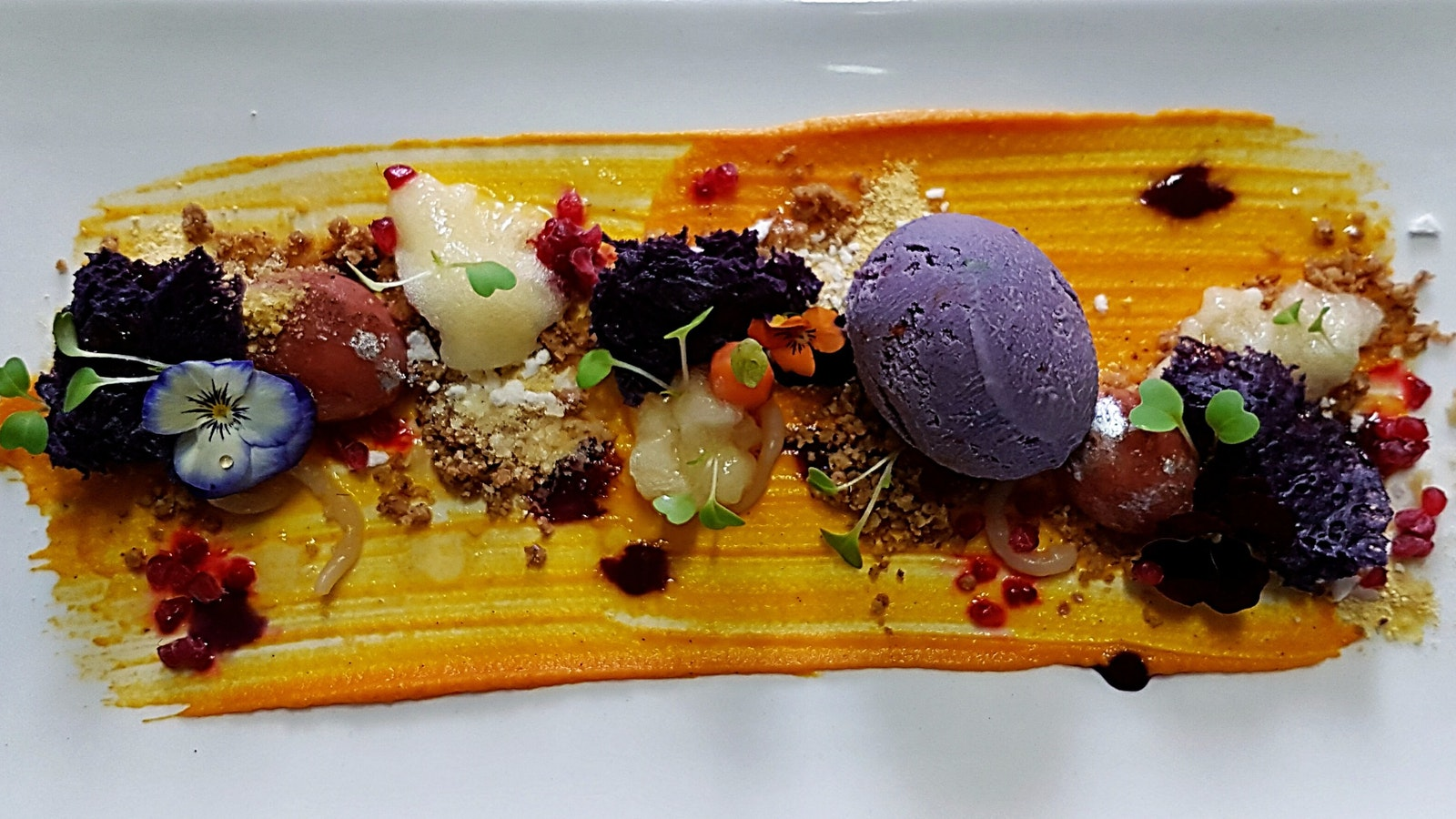 An amazing dessert featuring fruits and vegetables found in winter time