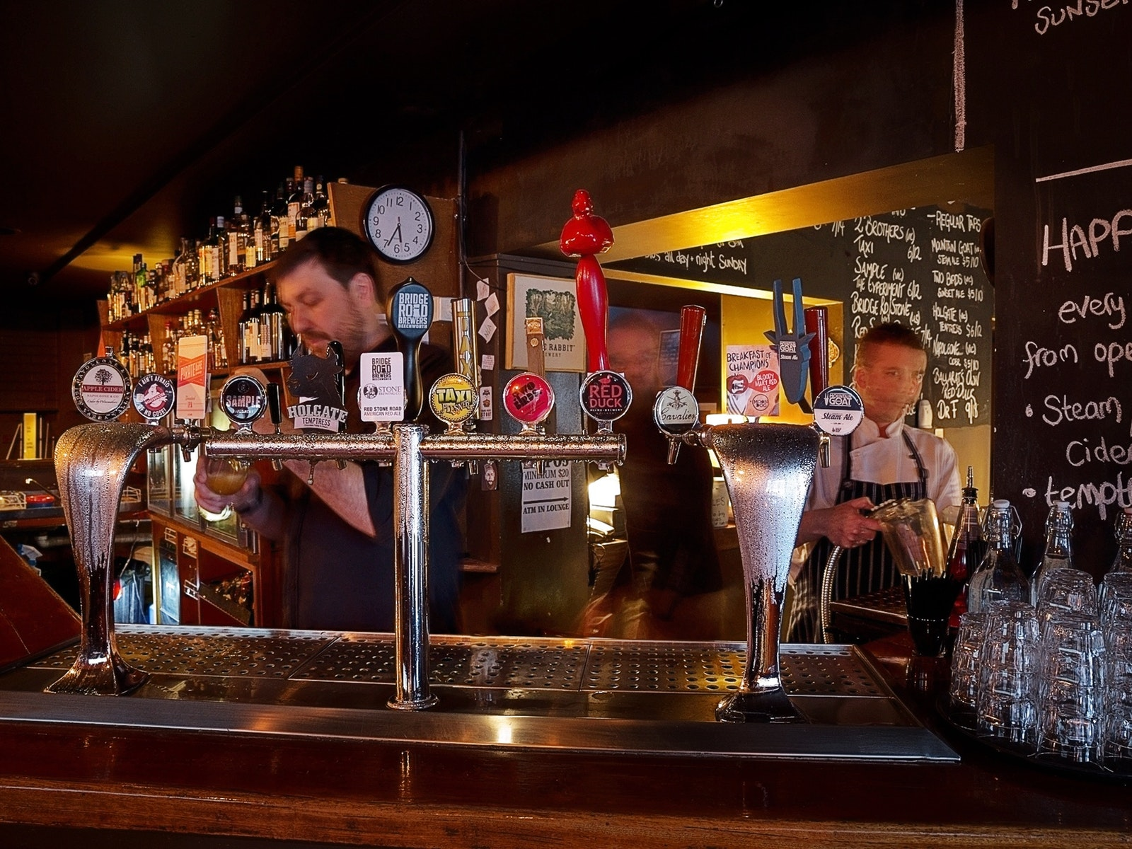 Craft beers on tap in the front bar