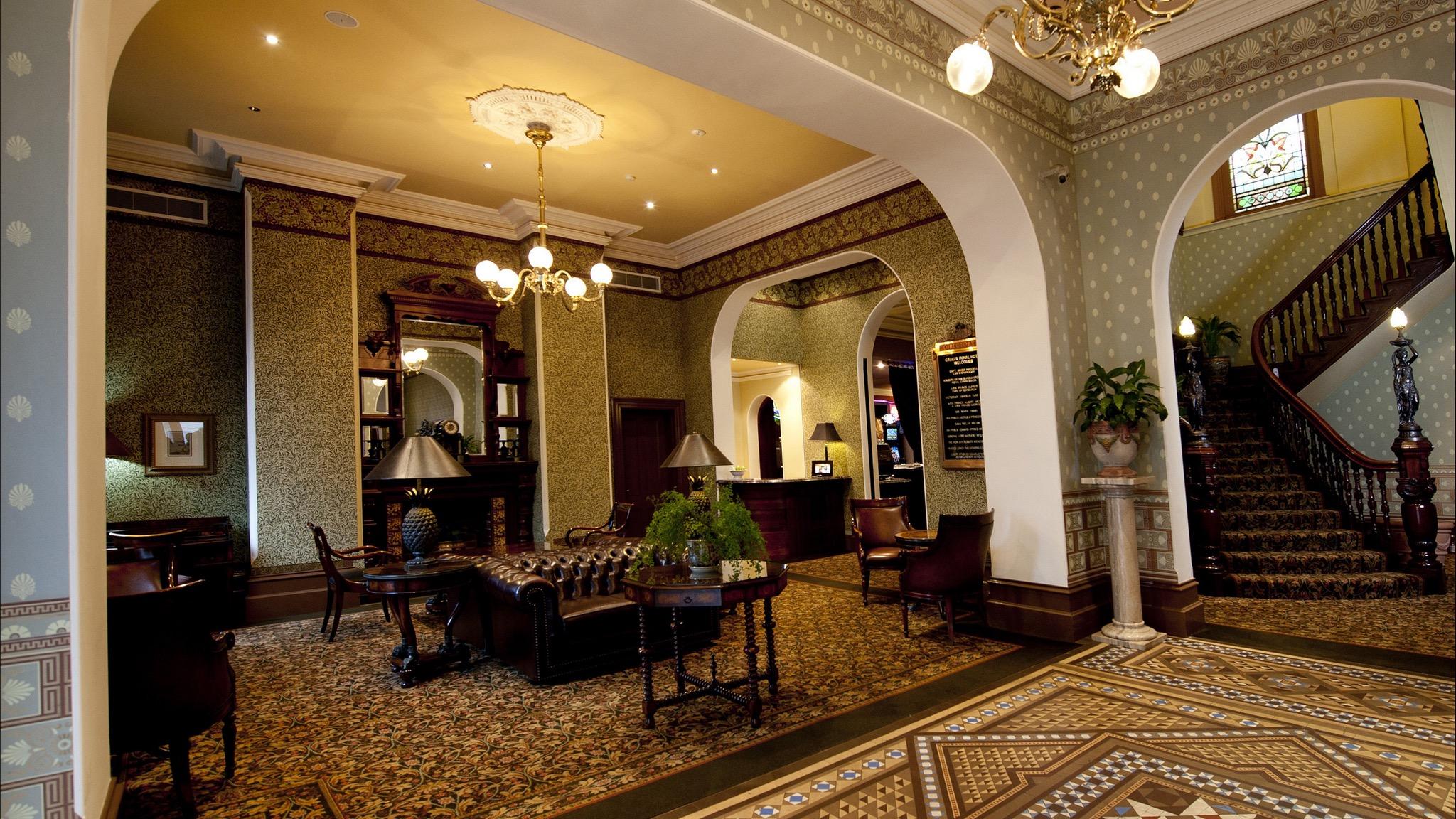 The lobby entrance at Craig's Royal Hotel