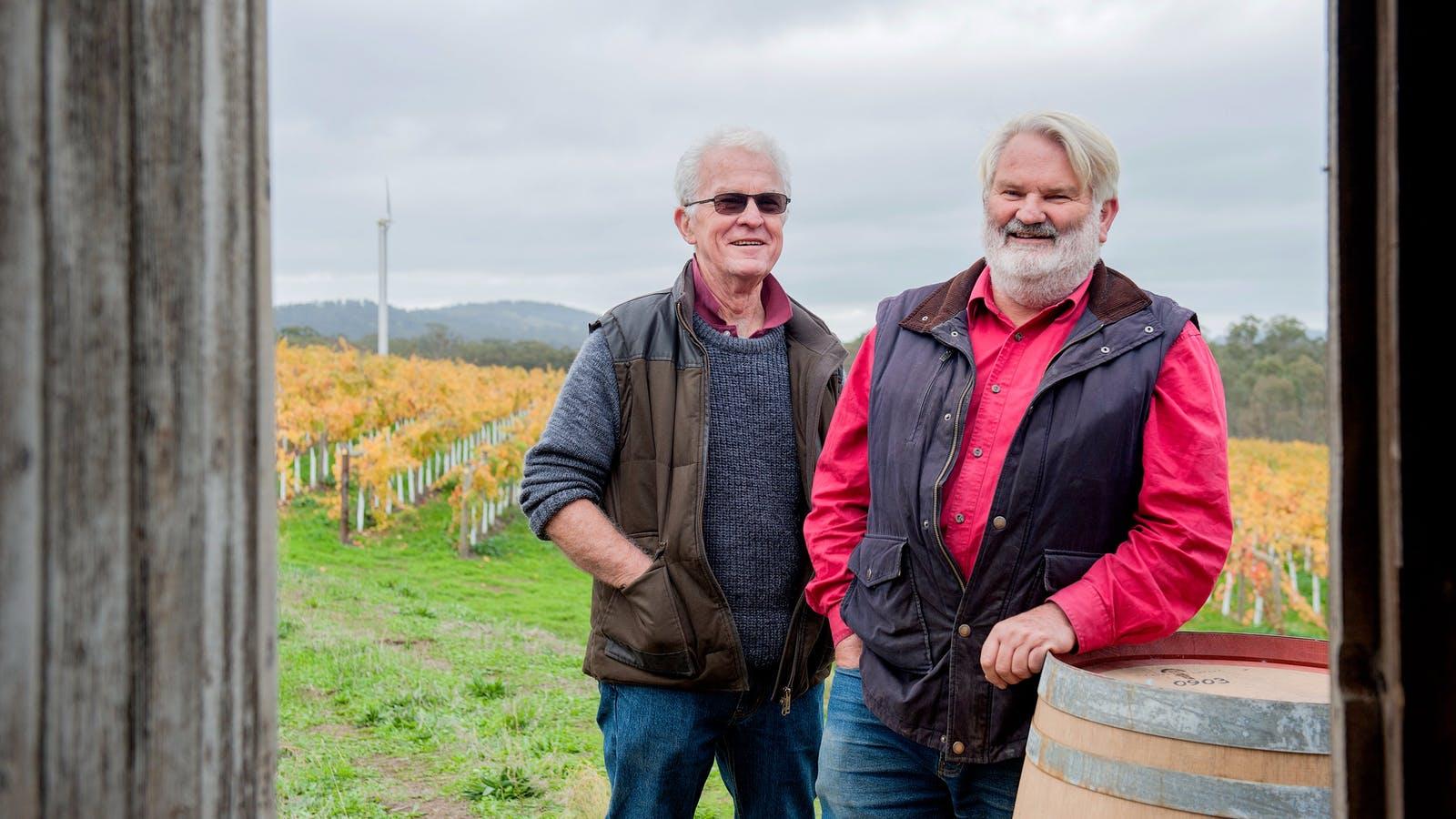 Ian McKenzie and Ken Pollock at Blackjack Vineyards