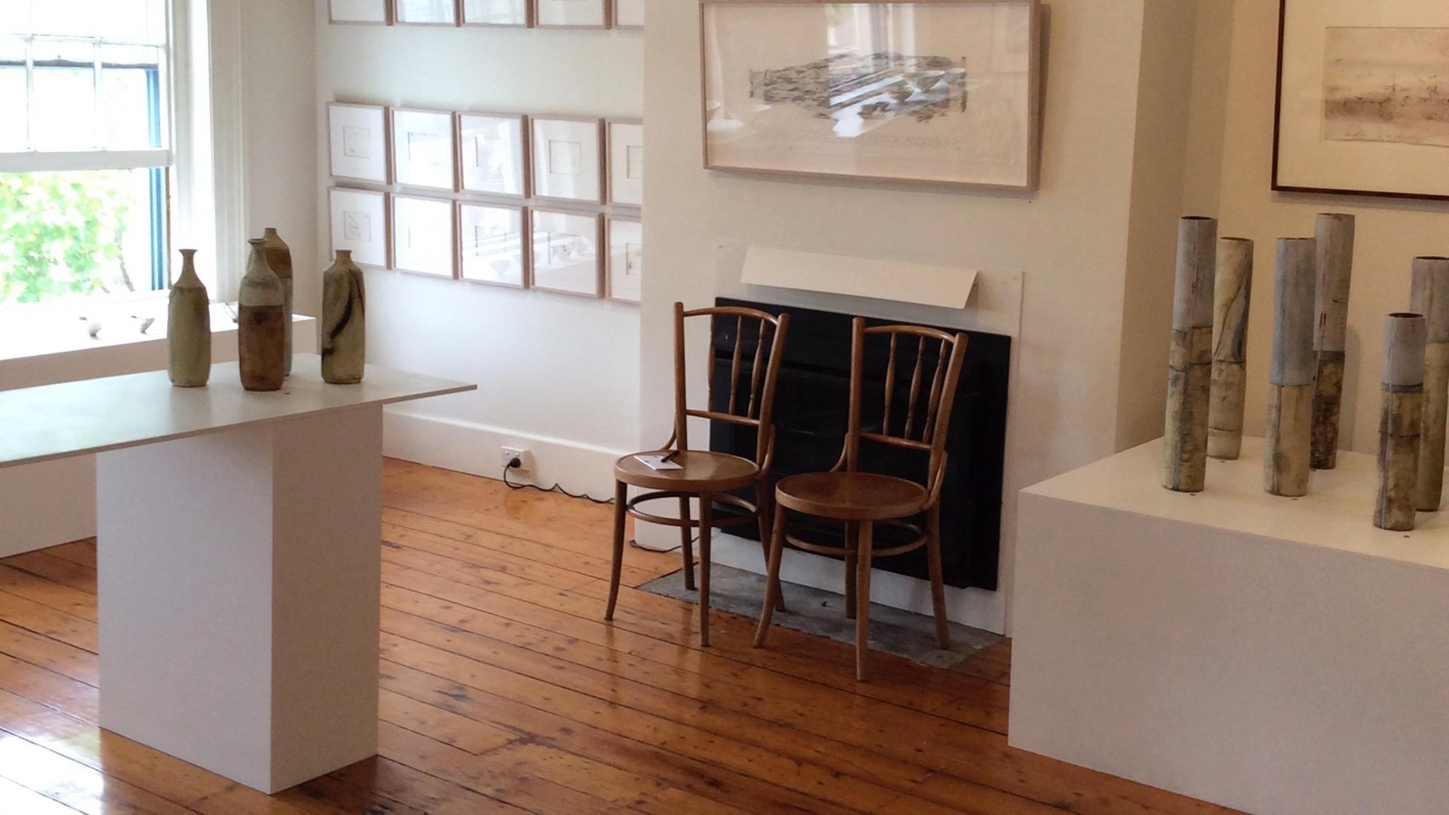 Upstairs gallery: Ceramics by Sarah Ormonde, Drawings by John Wolseley