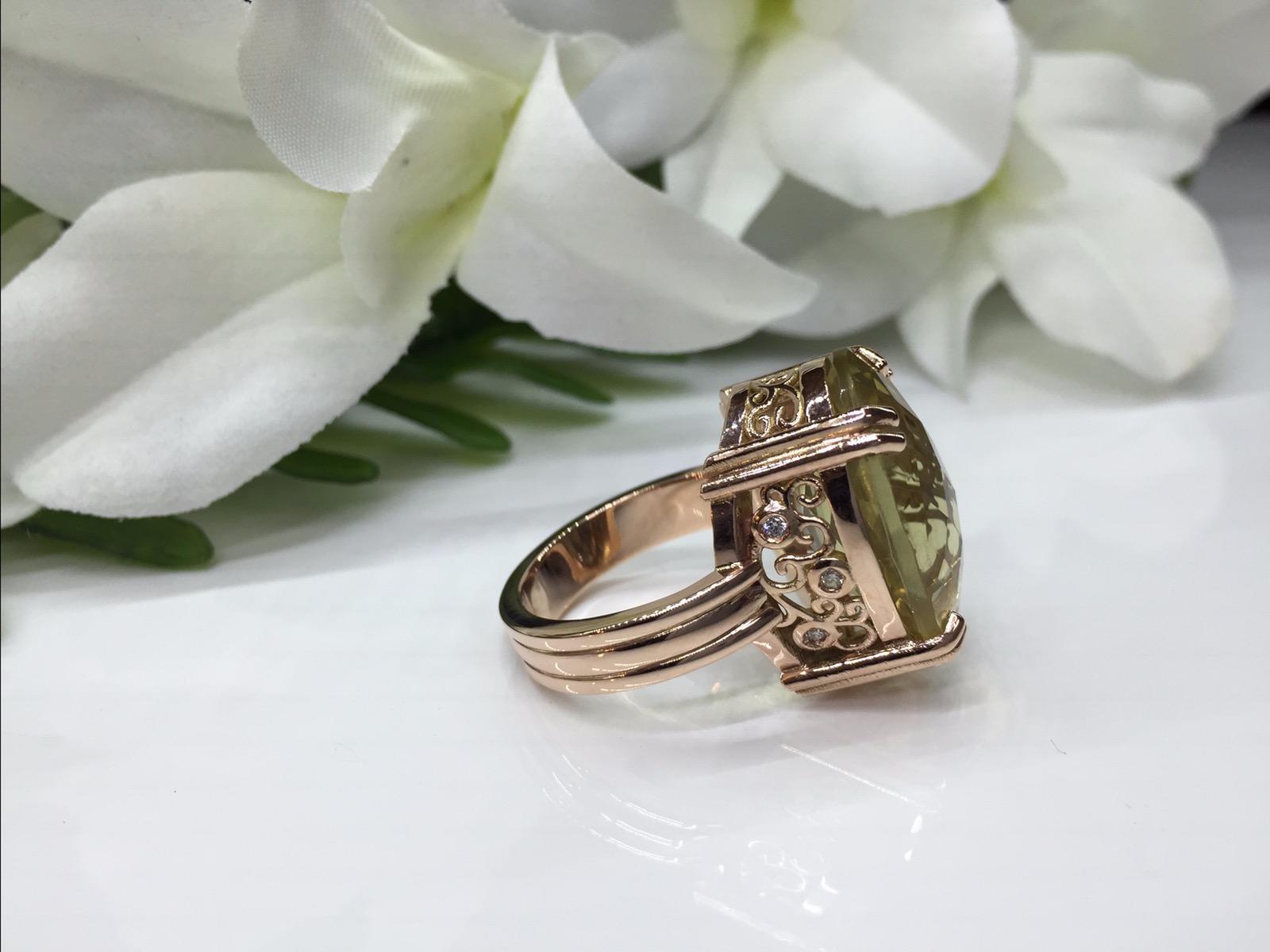 Rose Gold Diamonds and Lemon Quartz Ring On Display Now