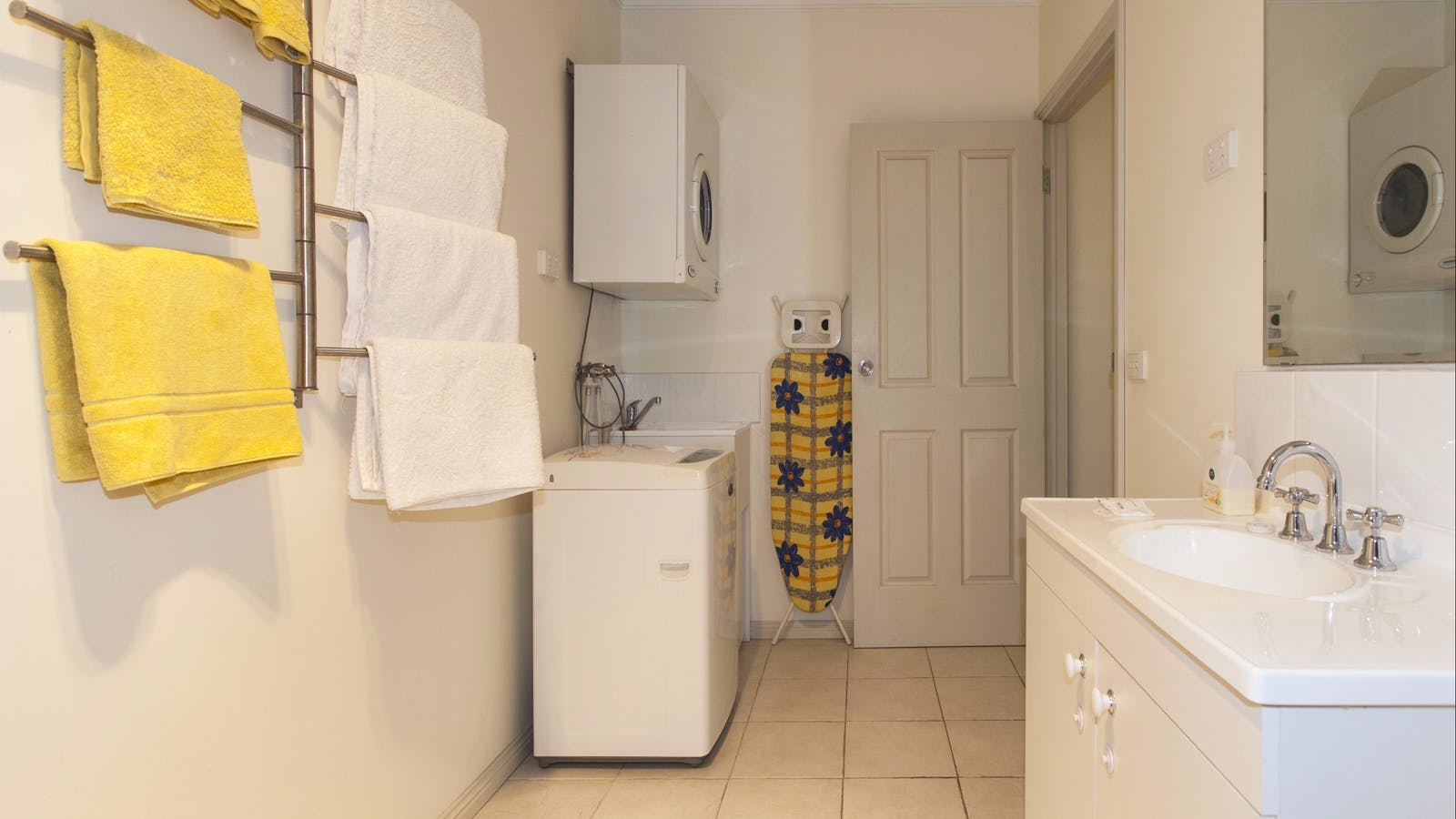 Laundry facilities in bathroom