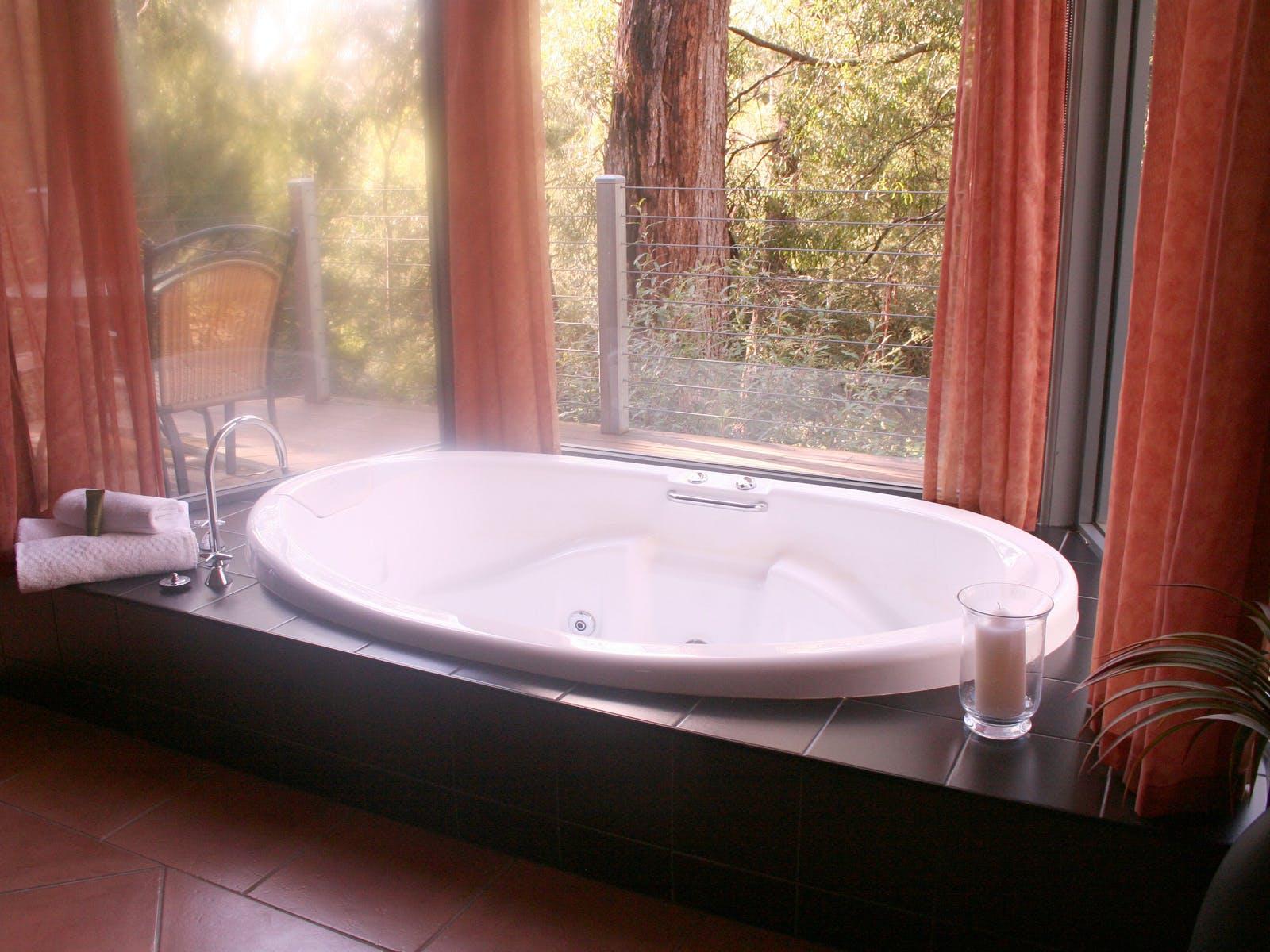 Unwind in spa with bushland views