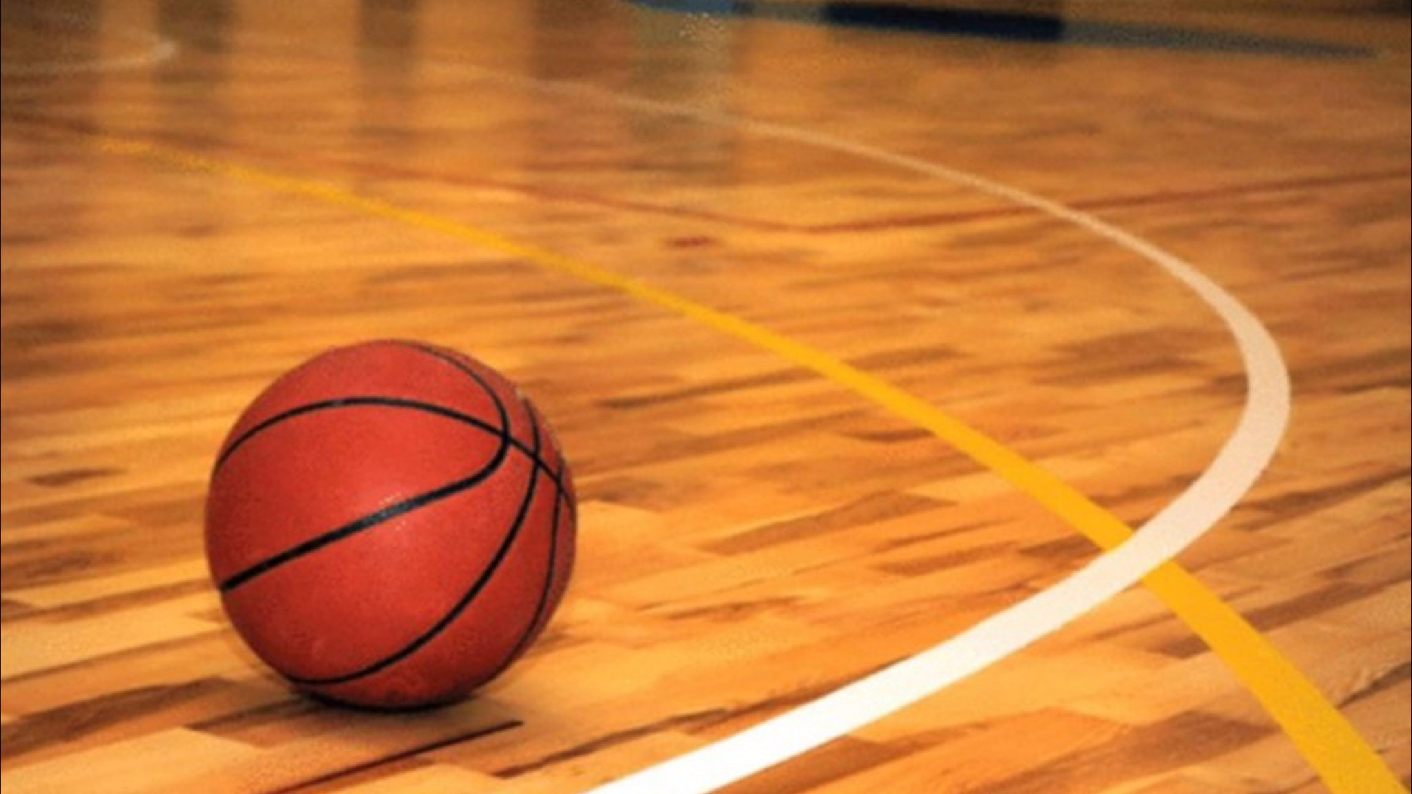 Participants play basketball throw