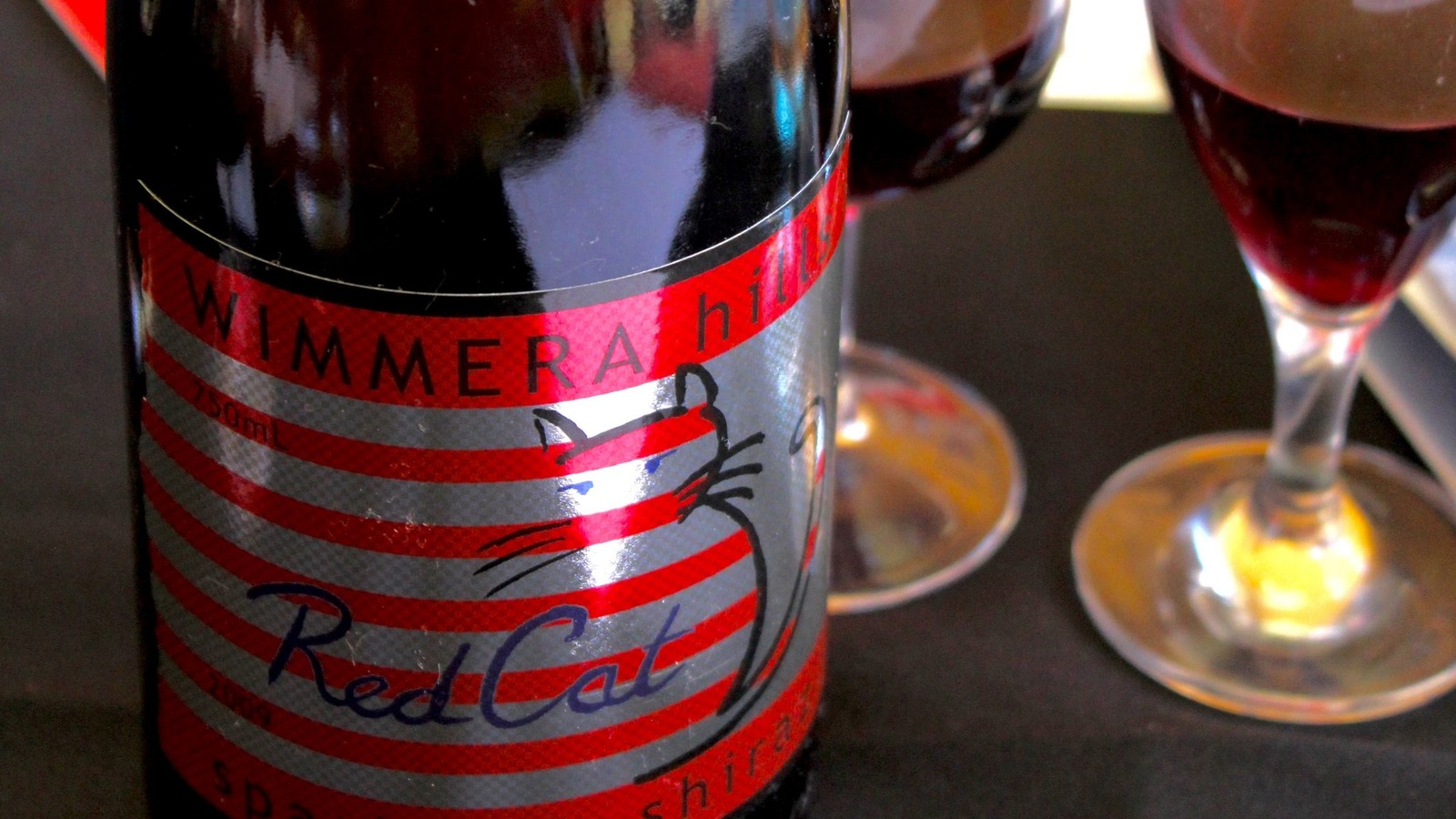 Red Cat sparkling shiraz at Wimmera Hills Winery