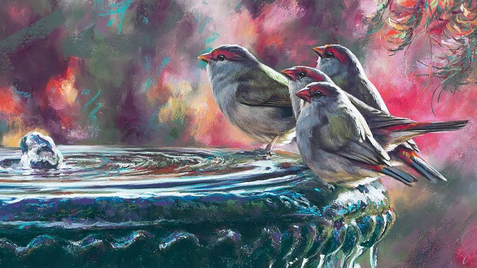 'Party time - firetail finches' - Pastel on Colourfix paper, Image size 76 X 30 cm
