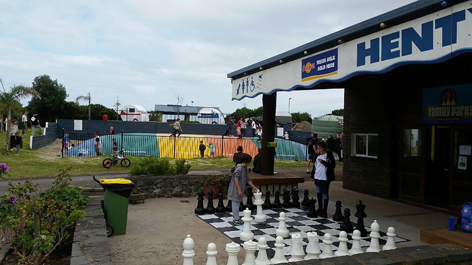 Children's play area at Henty Bay beachfront holiday park
